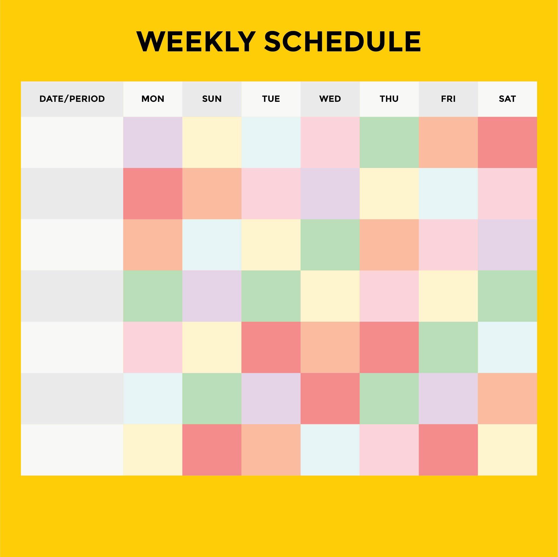 Printable Weekly Work Schedule