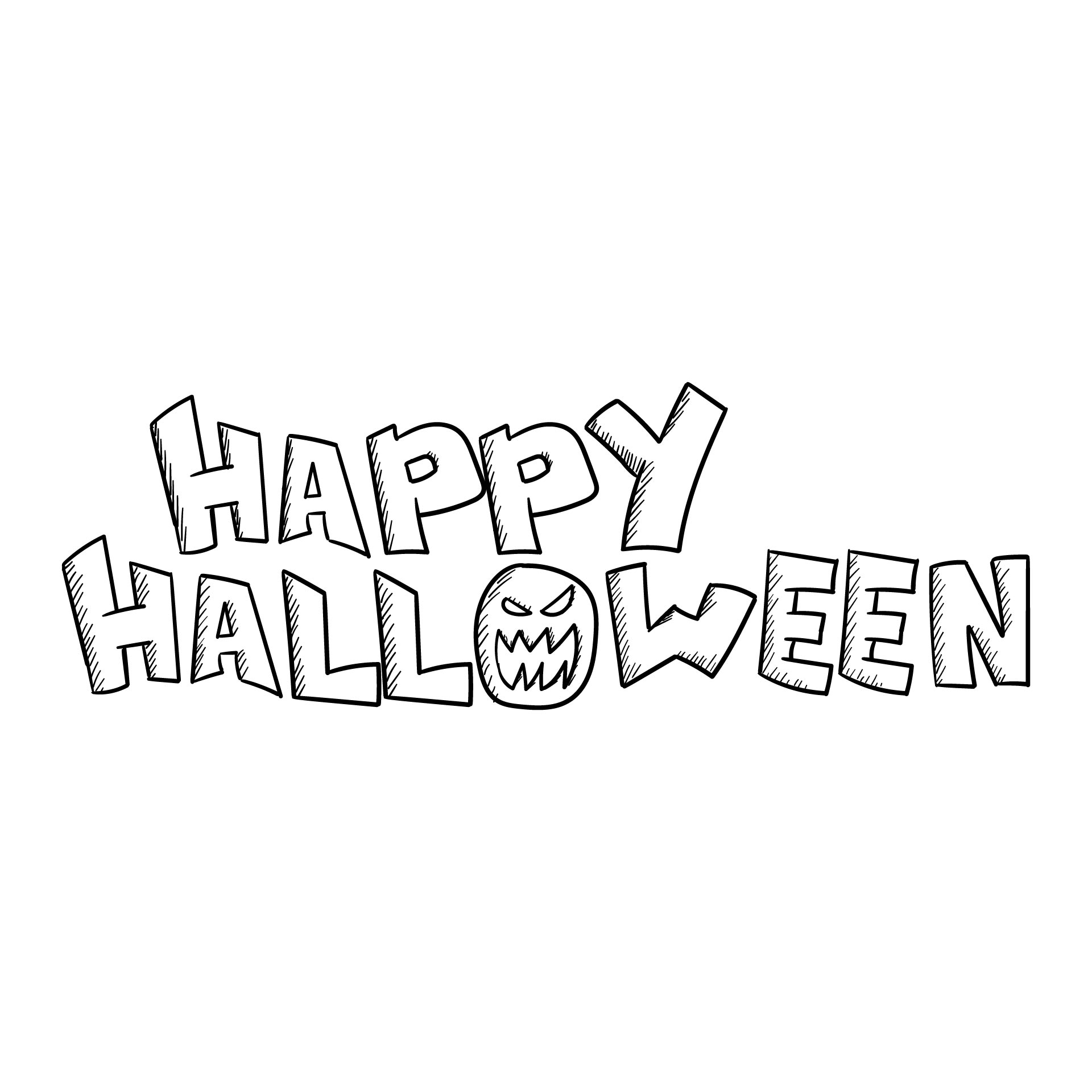 Printable Coloring Happy Halloween Banner