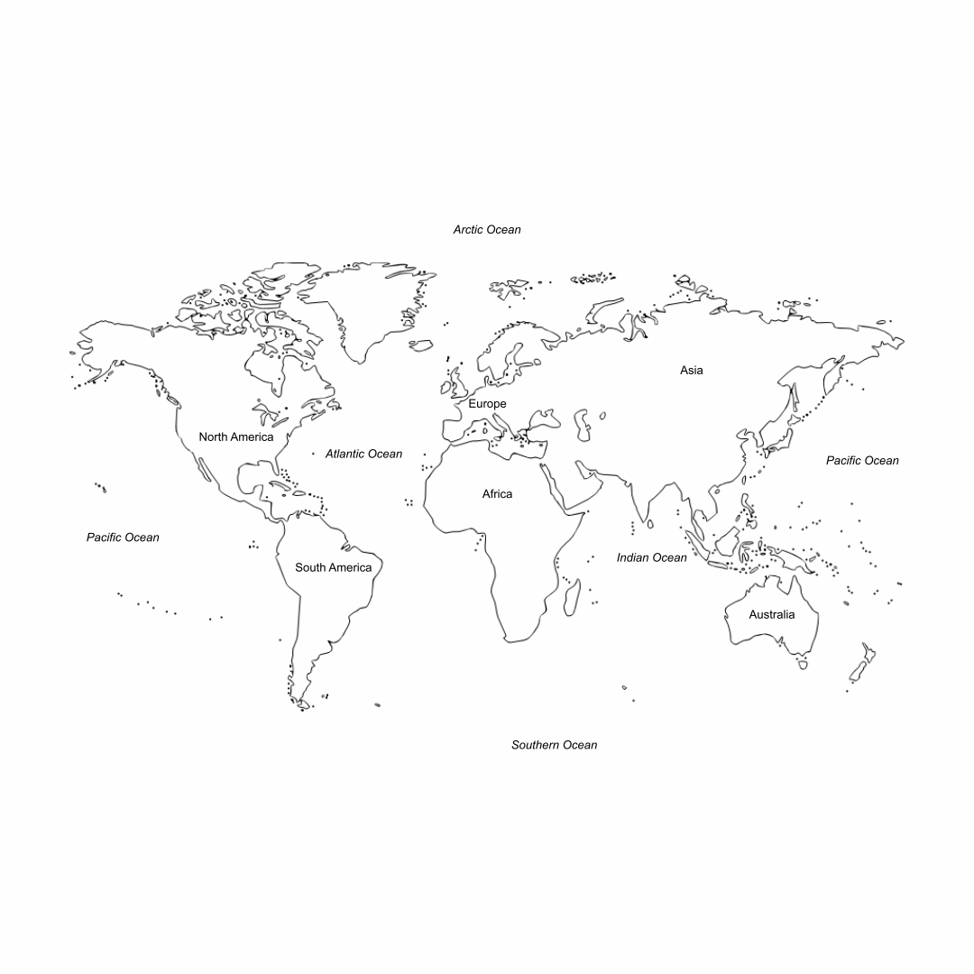 Printable World Map Not Labeled
