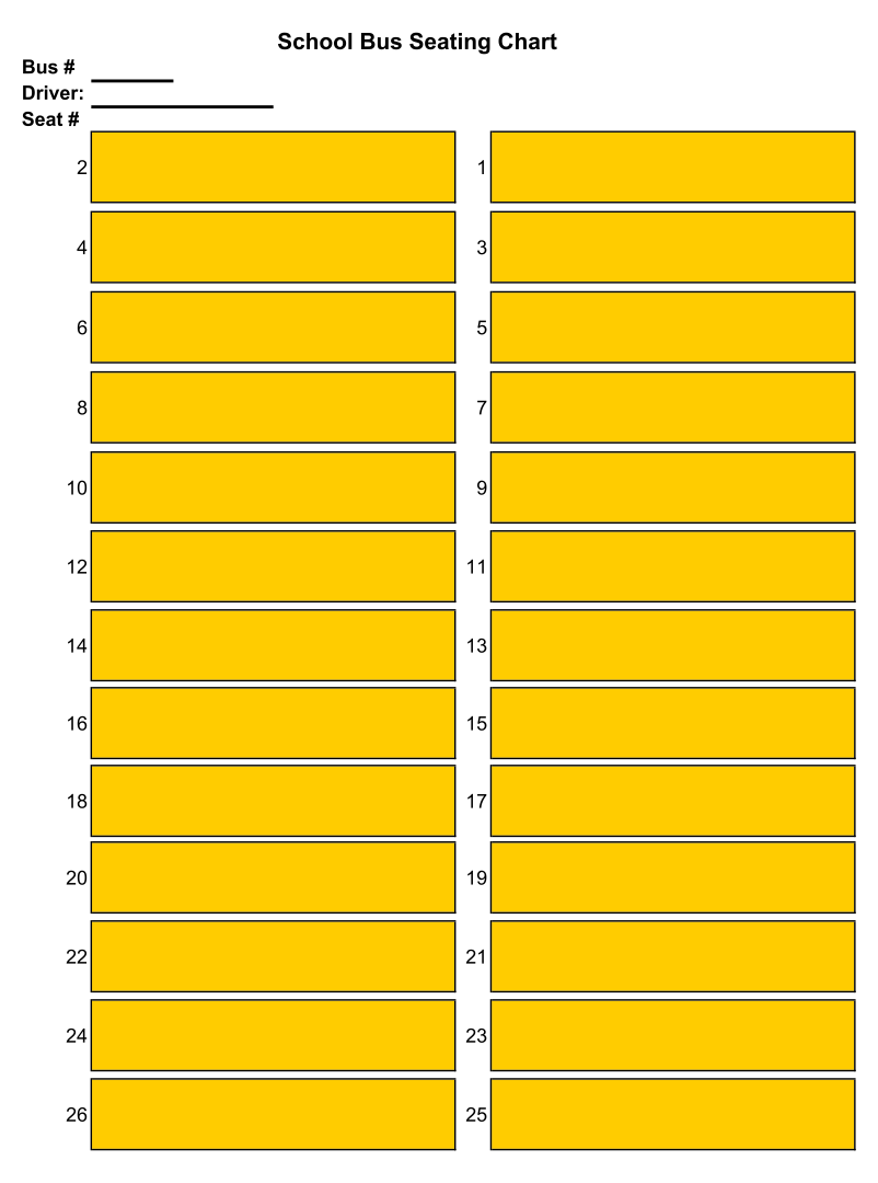 School Bus Seating Chart Printable