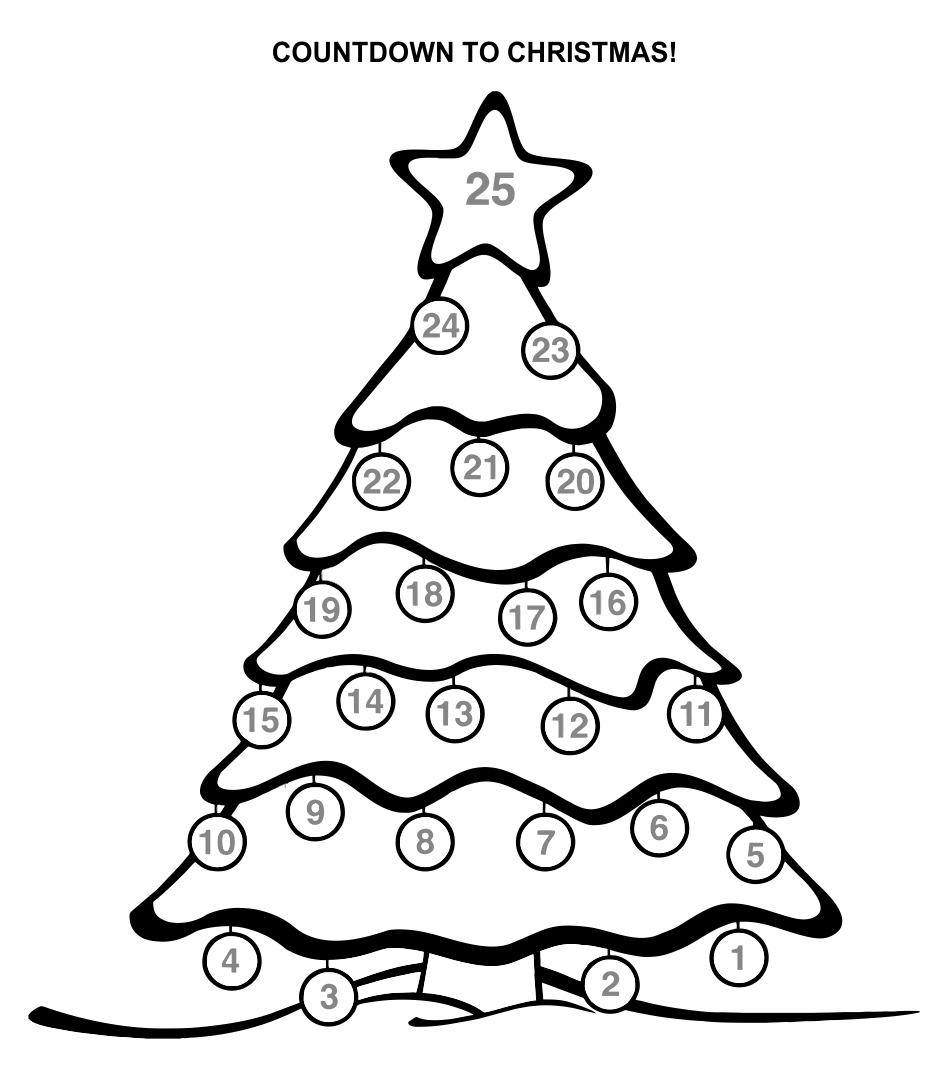 Coloring Calendar Christmas Countdown Printable