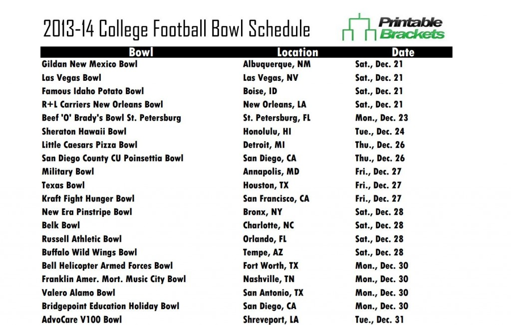 Printable College Bowl Schedule 2014-2015