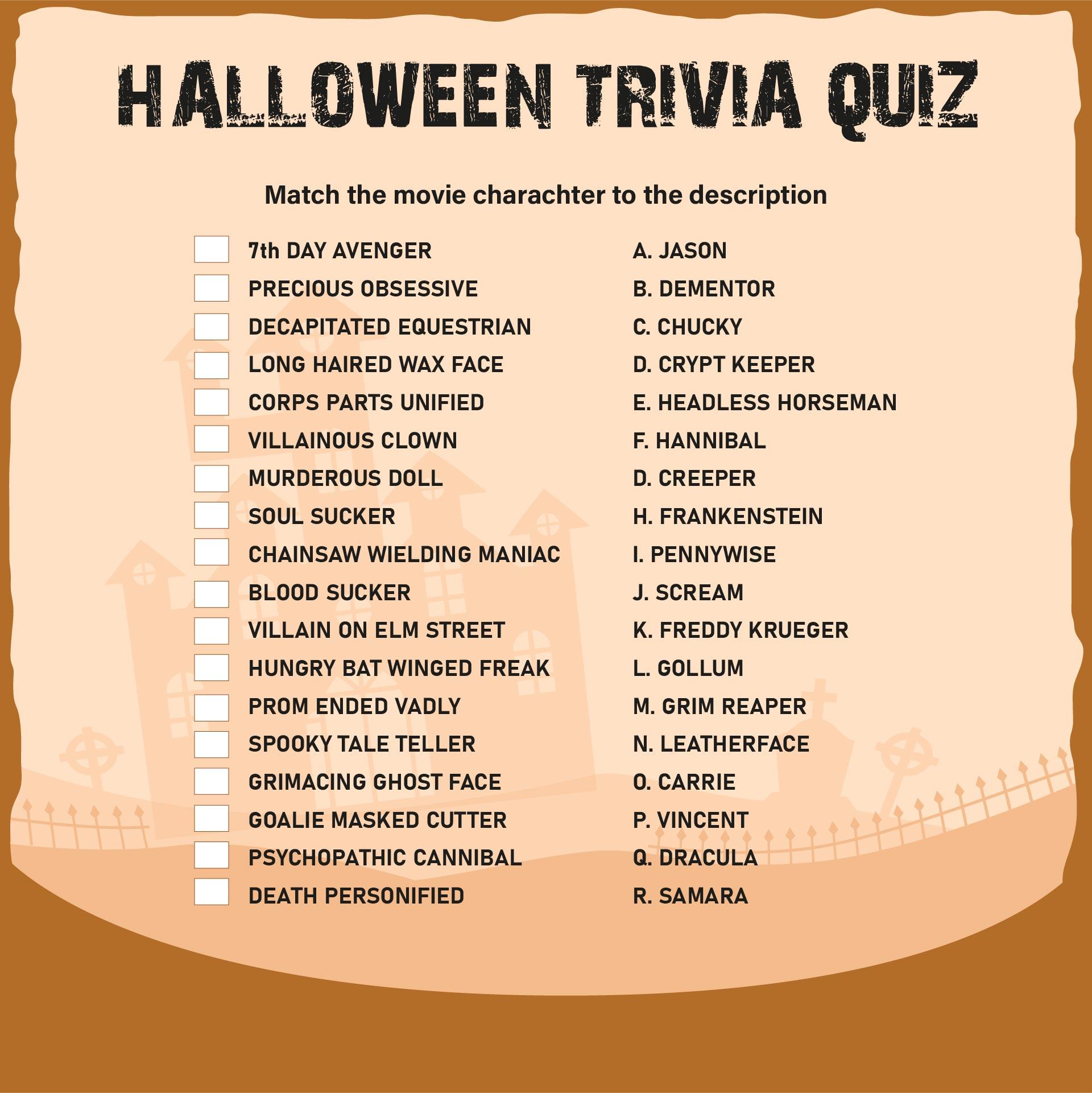 Printable Halloween Trivia And Answers