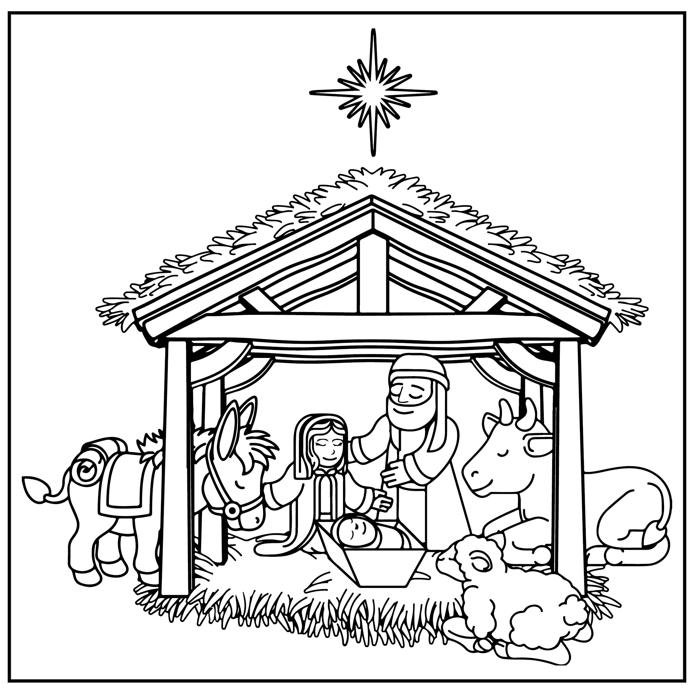 Christmas Nativity Scene Coloring Page Printable