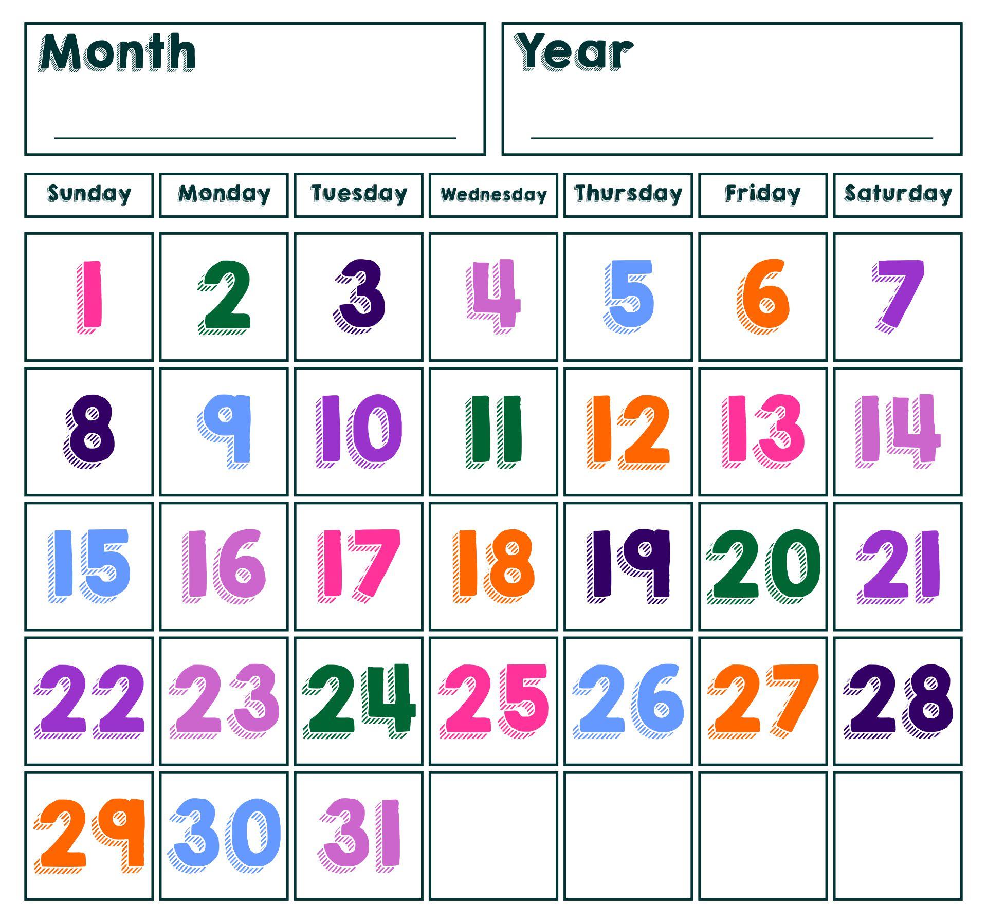 Printable Spring Calendar Numbers