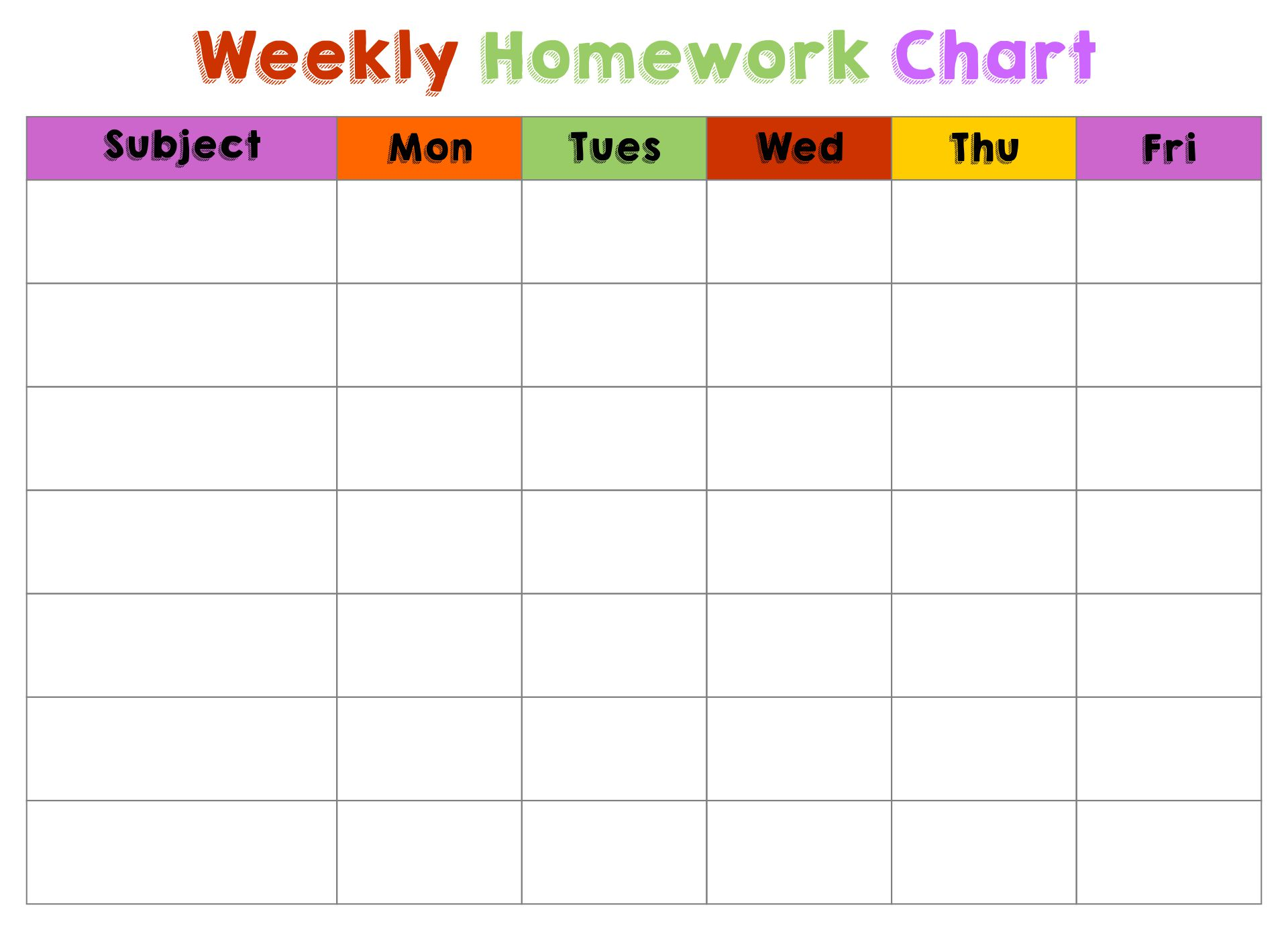 Homework Completion Chart Printable