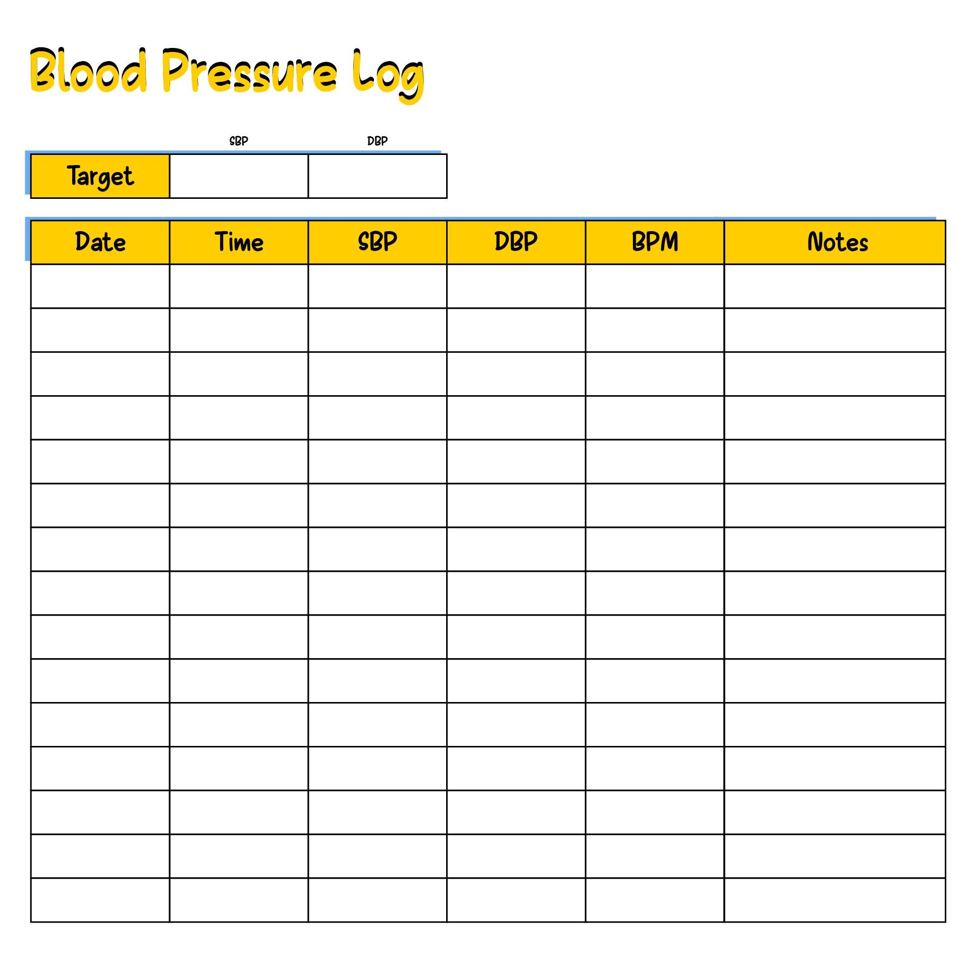 Sugar Blood Pressure Log Printable