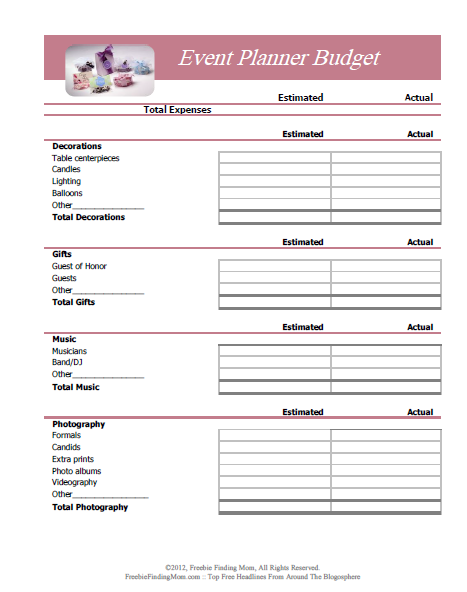 Simple Event Budget Worksheet Printable