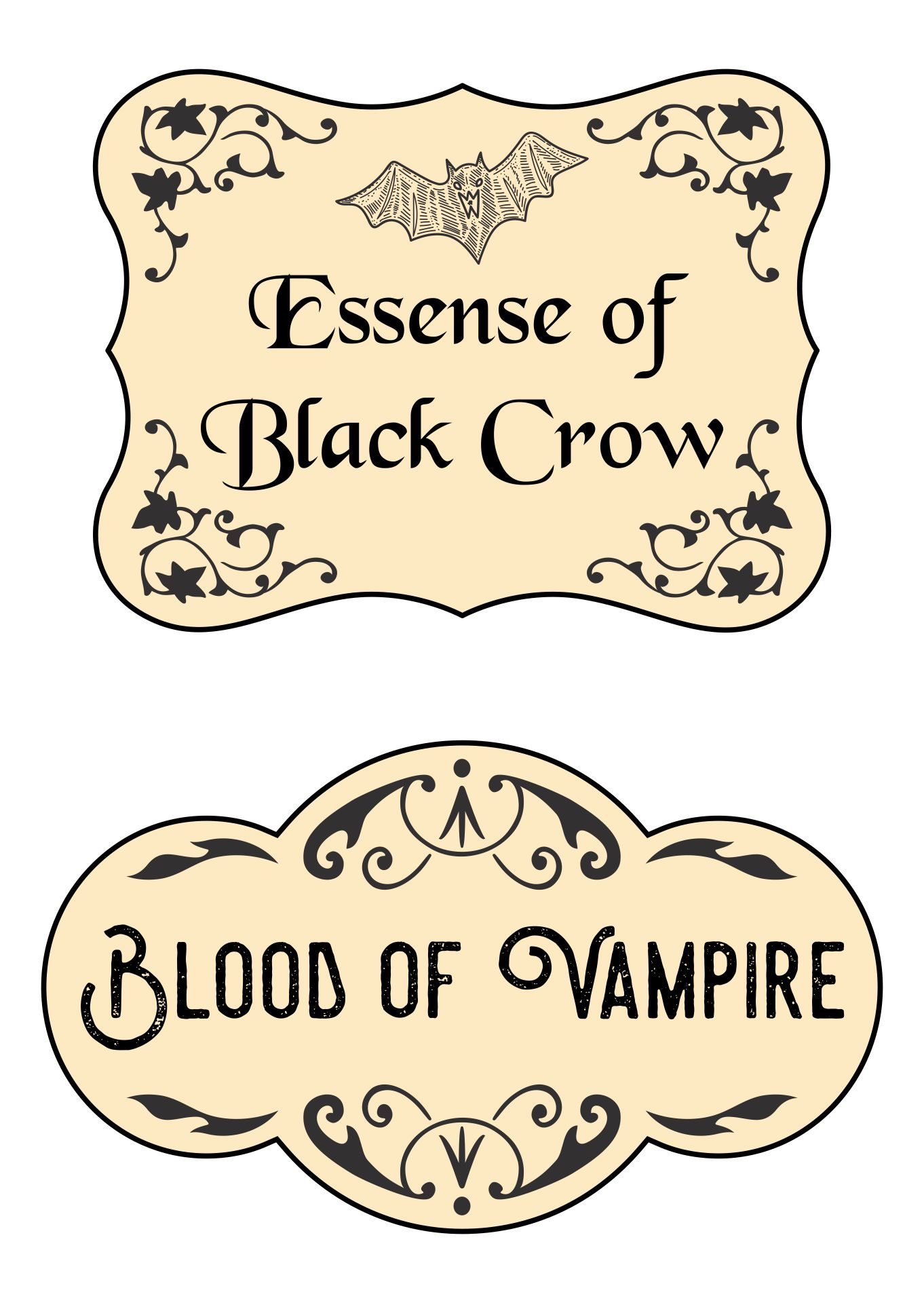 Printable Halloween Potion Labels