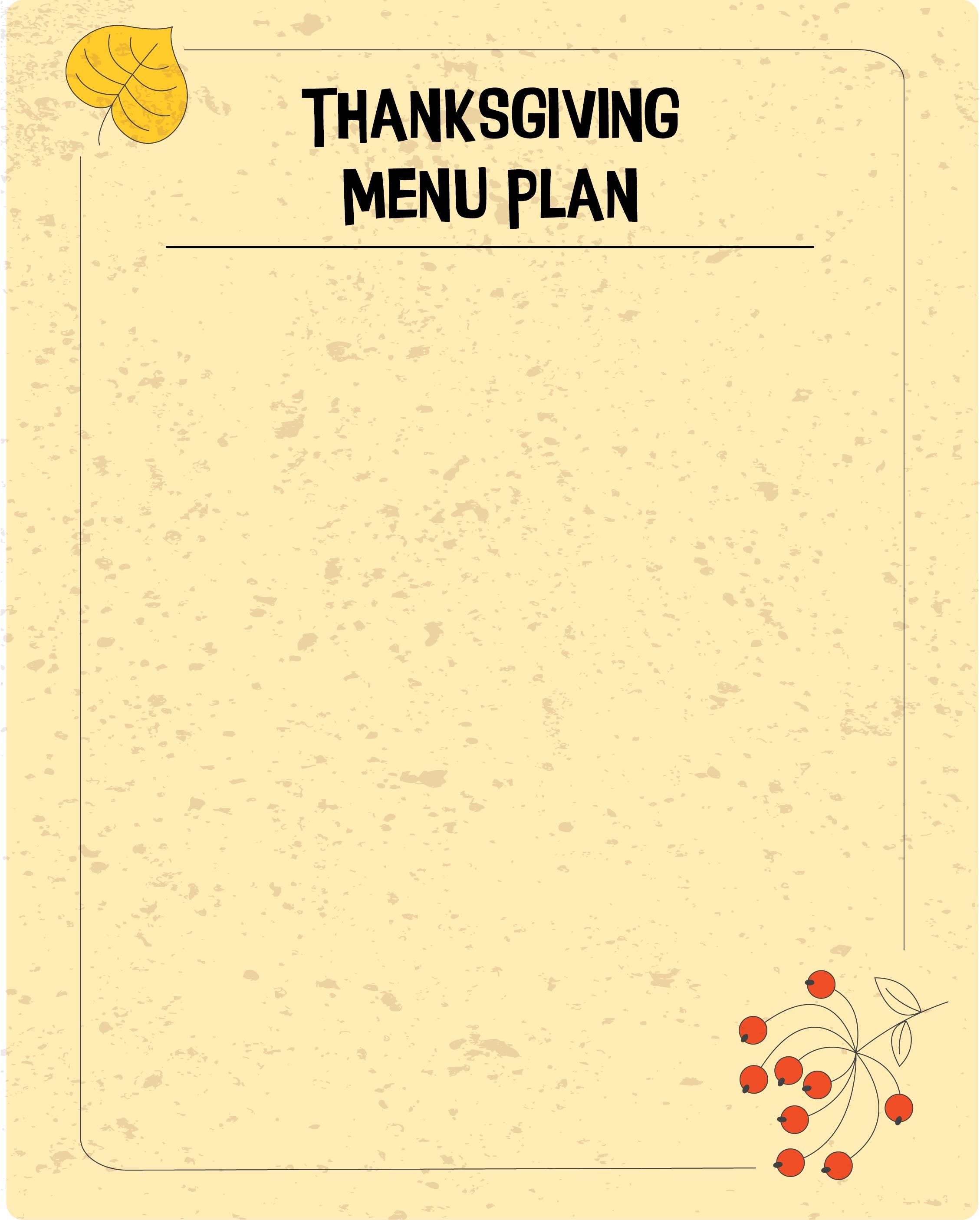 Printable Thanksgiving Menu