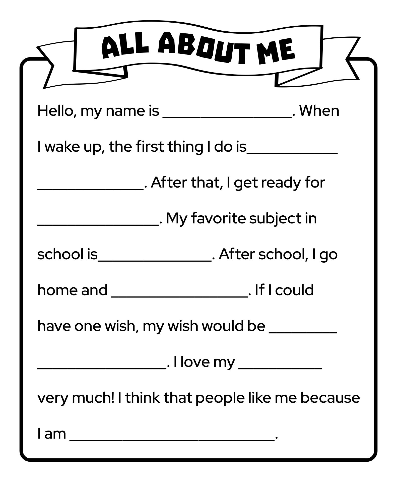 Printable Worksheets About.me Adult
