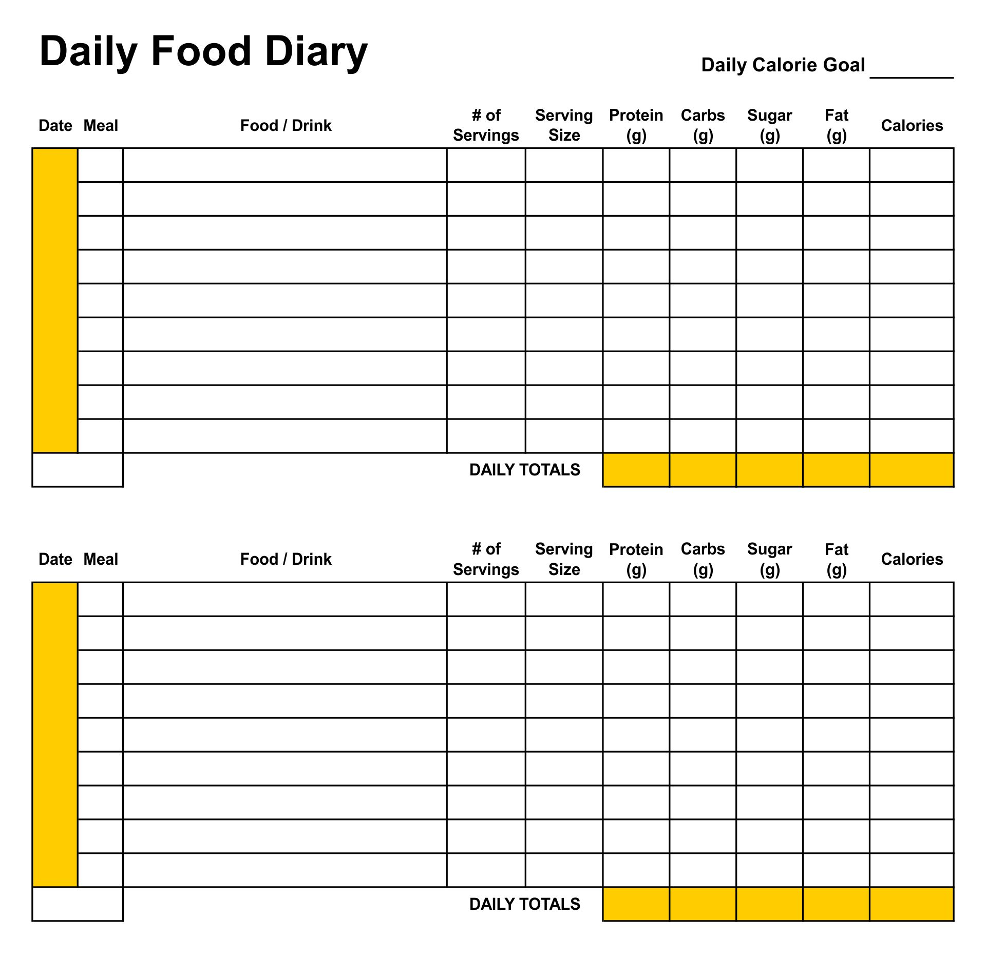 Daily Diet Journal Printable