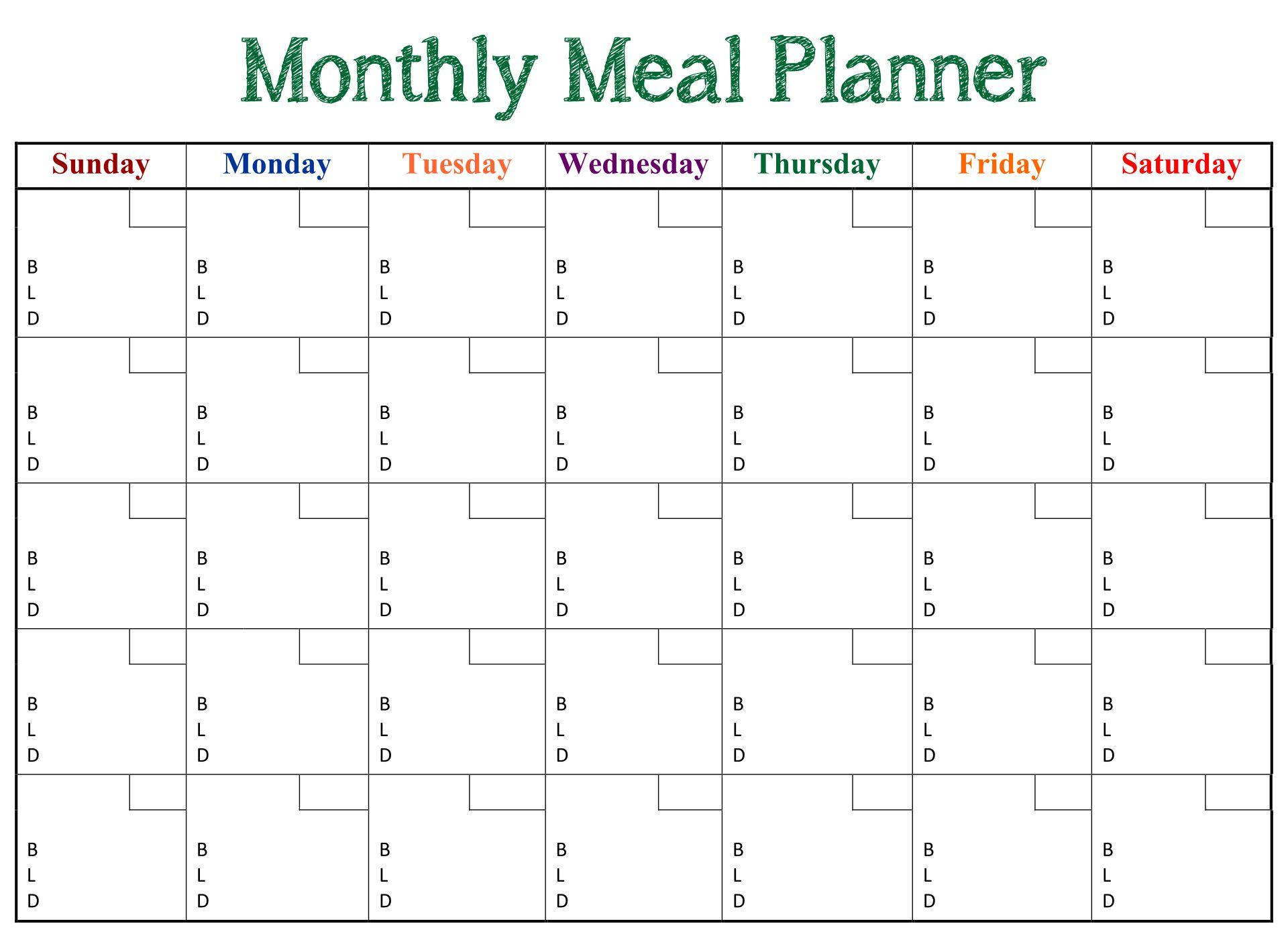 Printable Monthly Dinner Planner