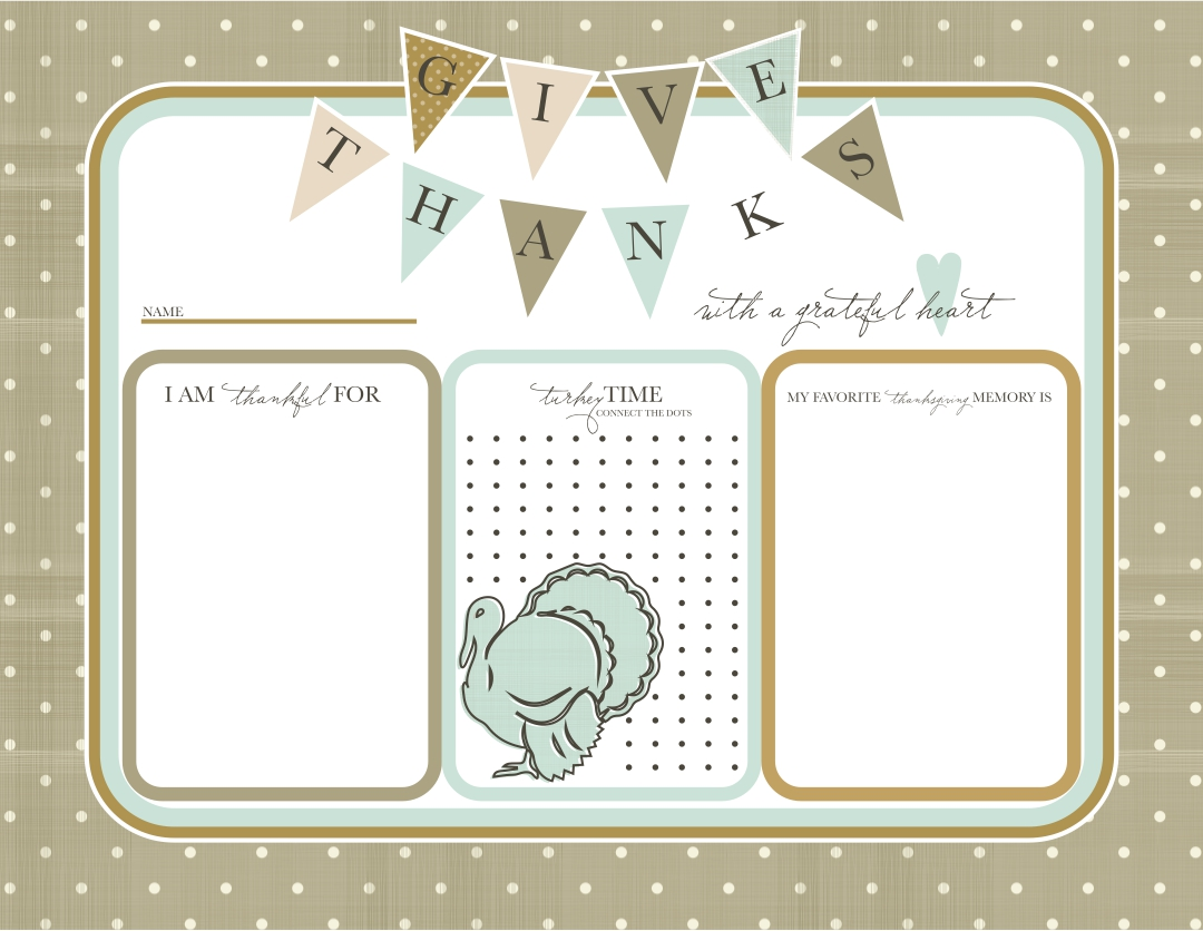 Printable Thanksgiving Placemats Template