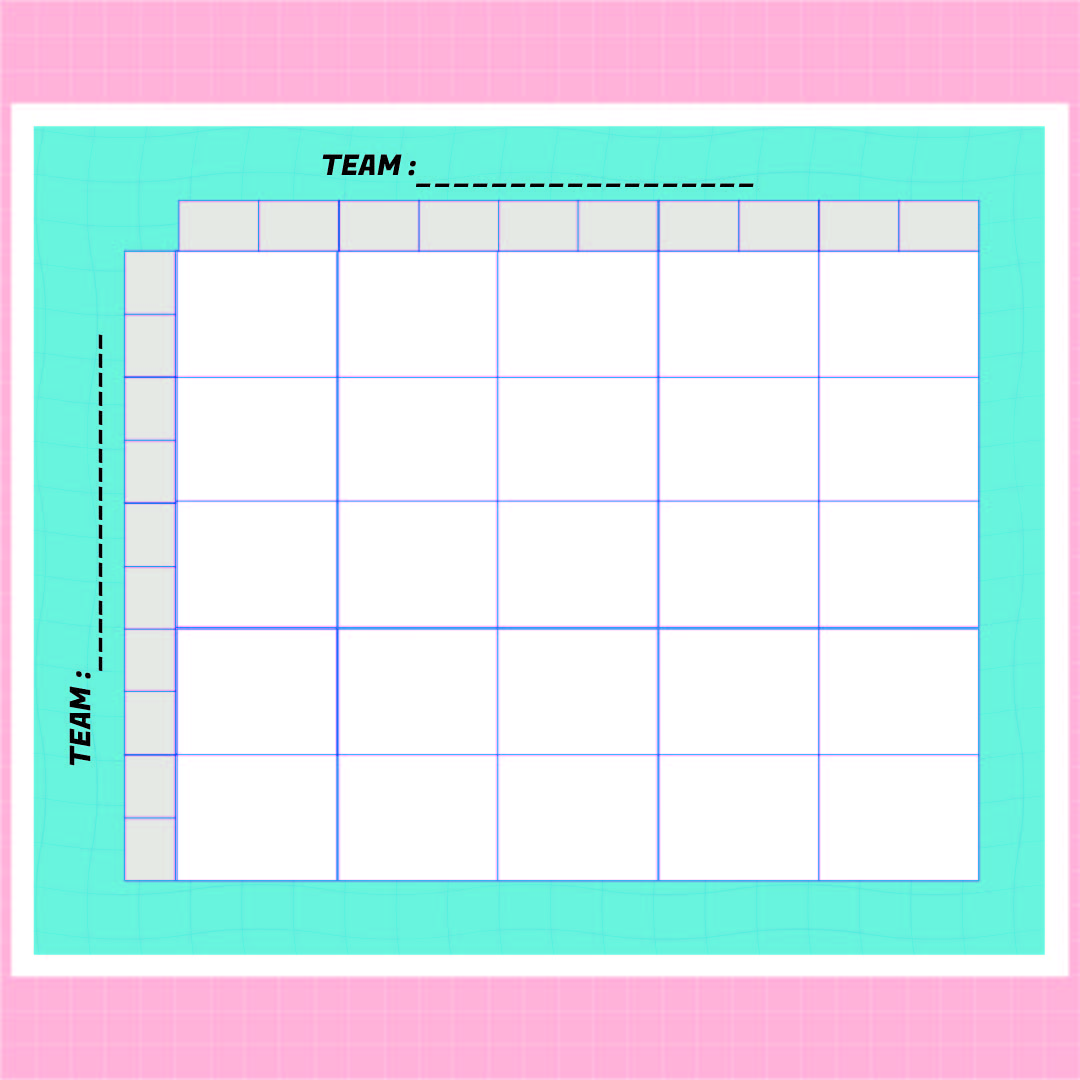 Printable 25 Square Football Pool Grid