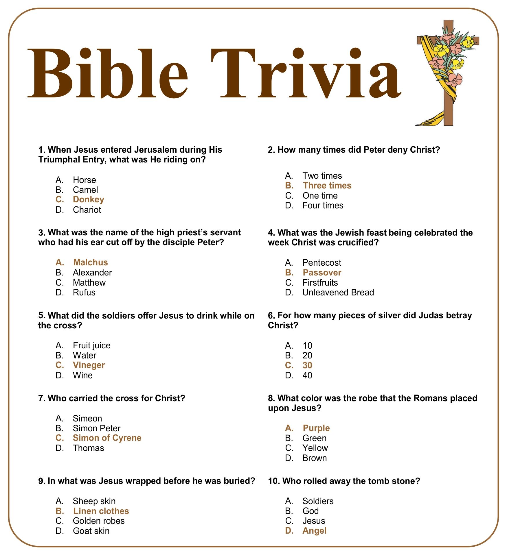 Printable Christmas Bible Trivia