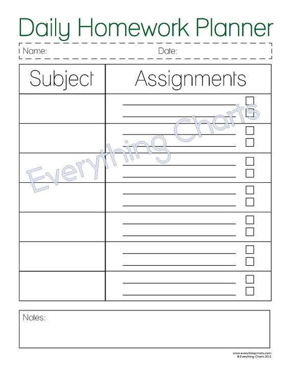 College Homework Planner  Printable