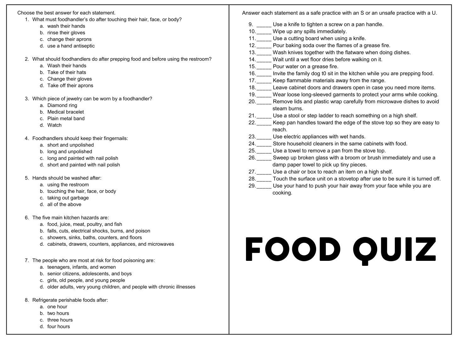 Printable Food Trivia