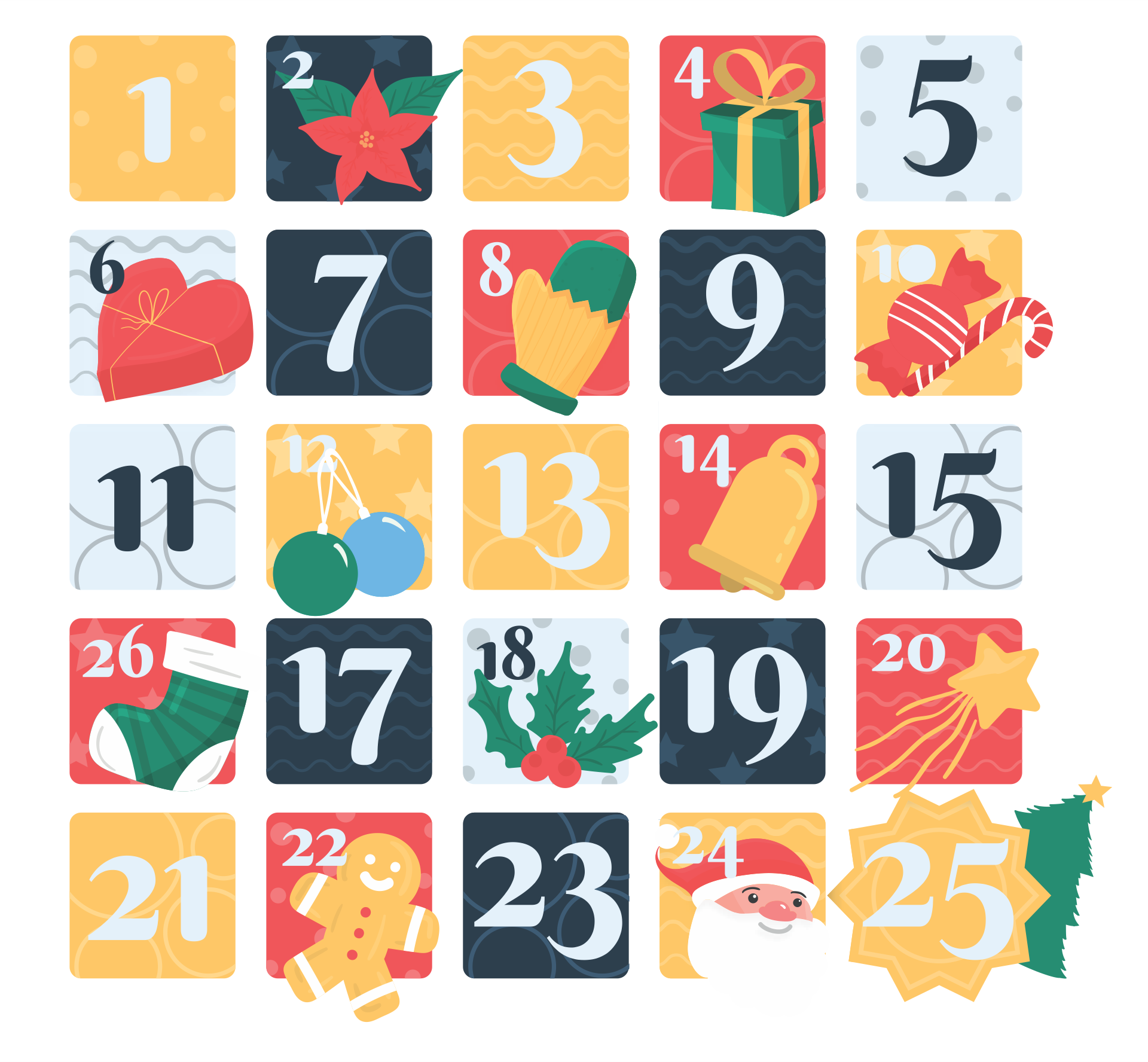 Printable Christmas Numbers 1 To 31