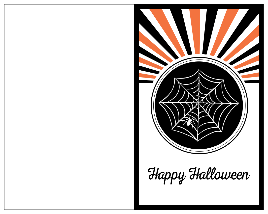 Black And White Halloween Printable Cards