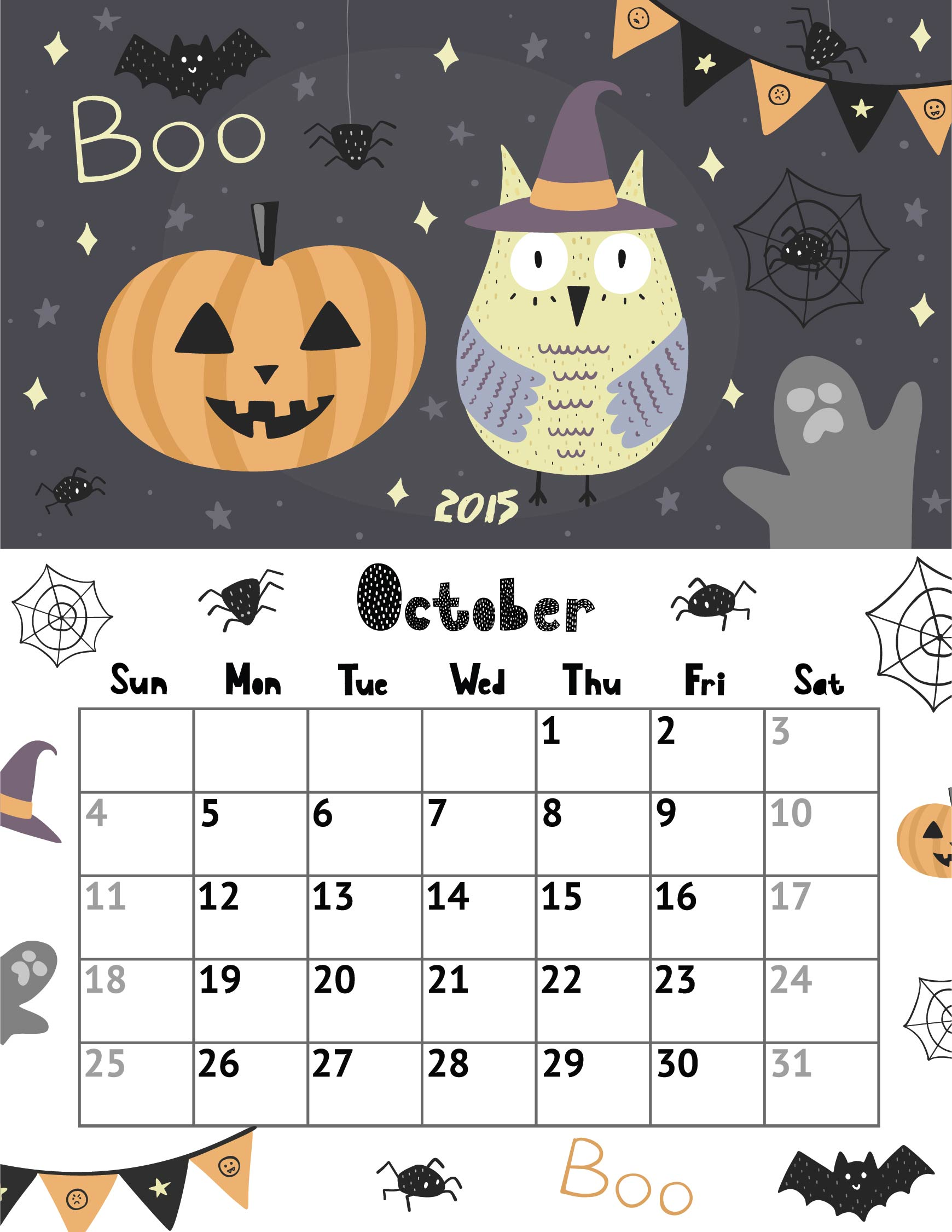 Halloween October 2015 Calendar Printable