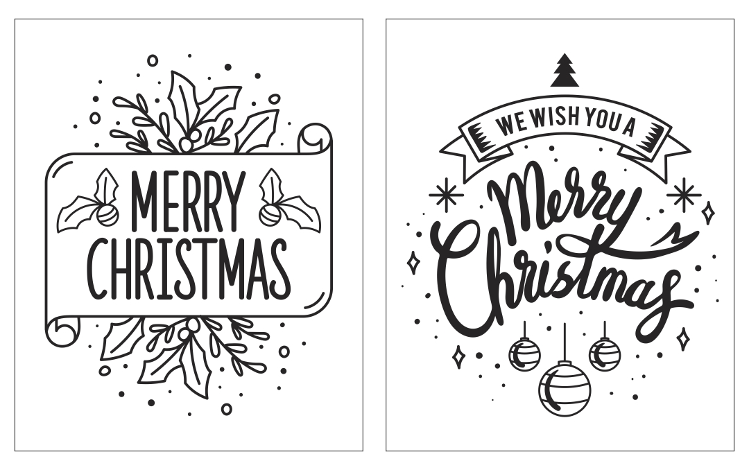 Black And White Holiday Christmas Cards Printables