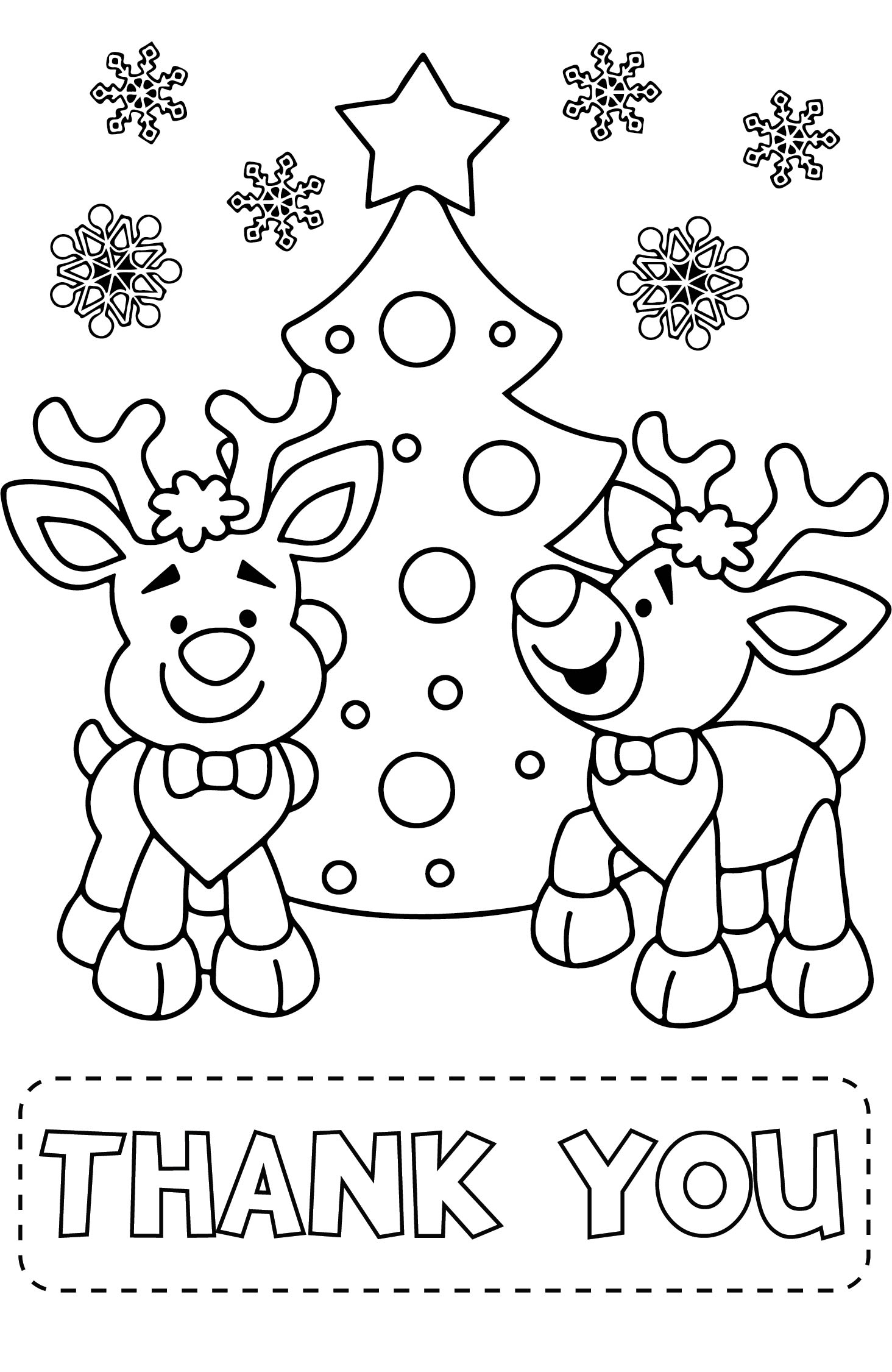 Christmas Printable Coloring Thank You Cards