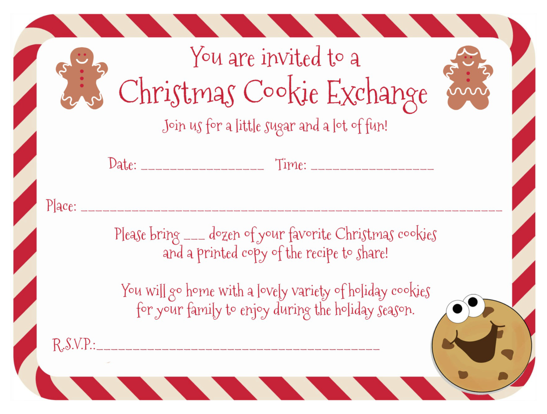 Cookie Swap Printable Invitation Template