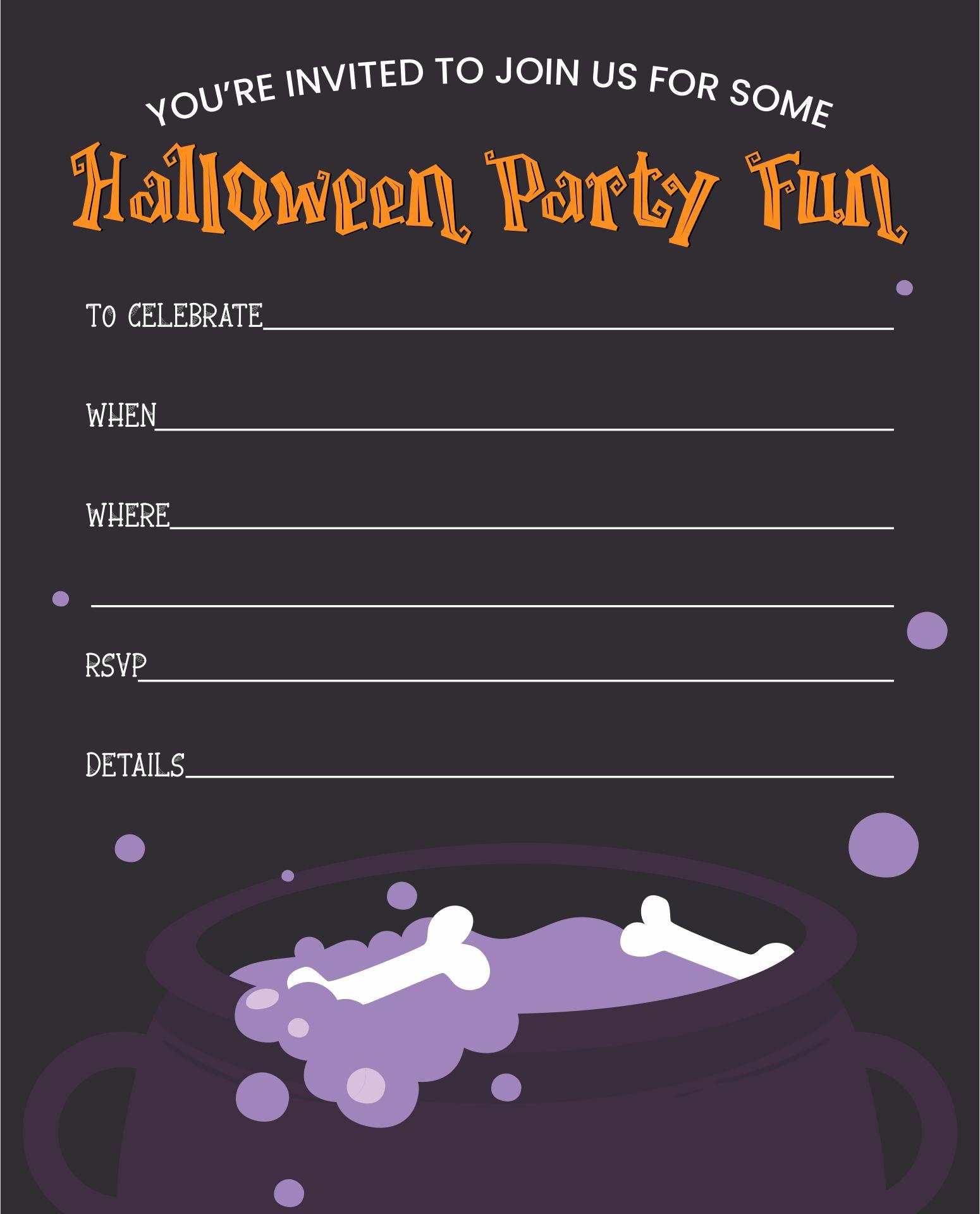 Blood Splatter Halloween Party Printable Invitation Templates