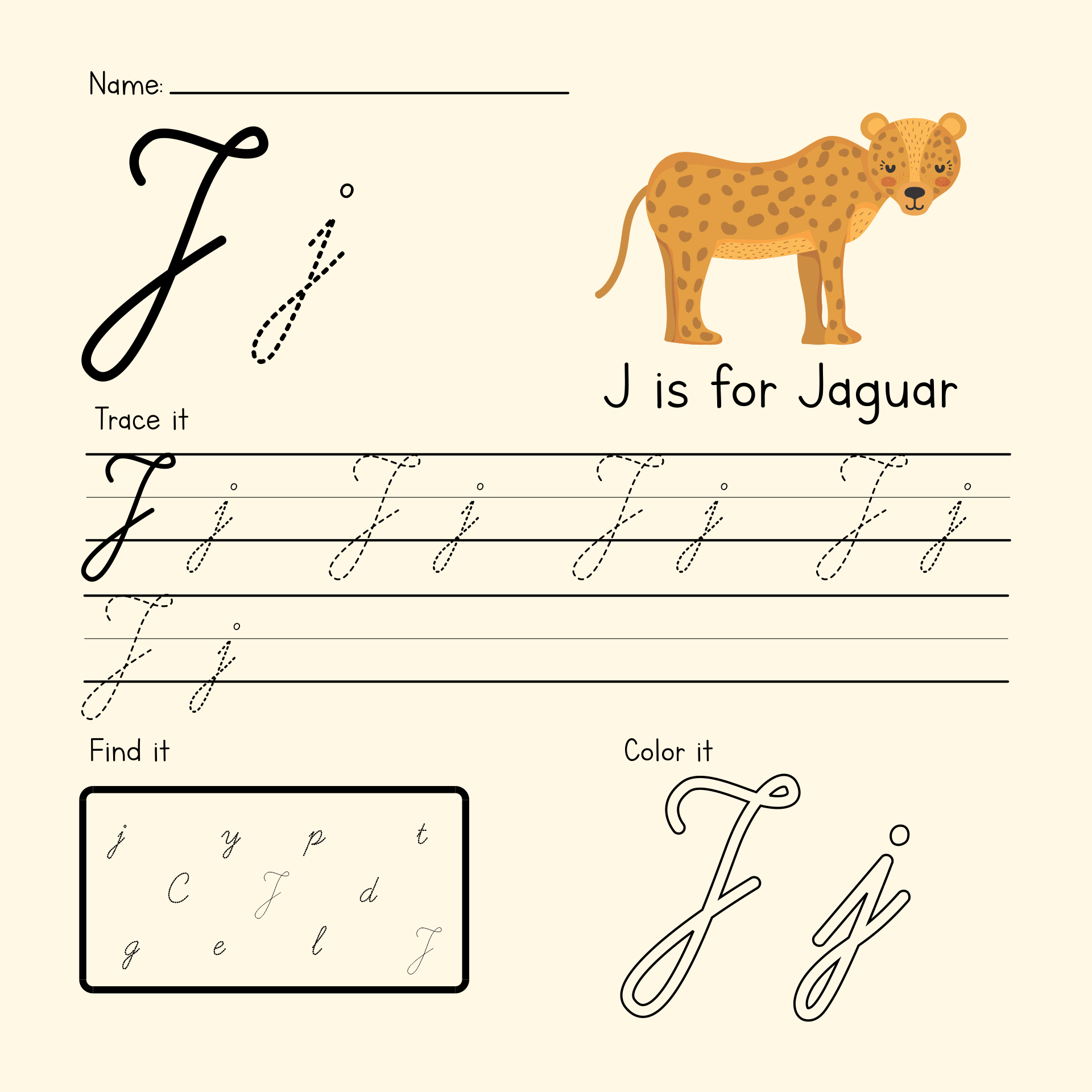Printable Letter J For Preschoolers