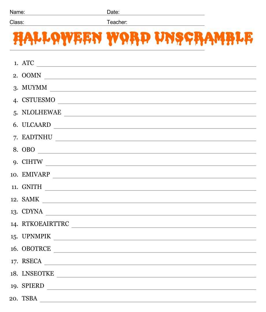Halloween Unscramble Printable