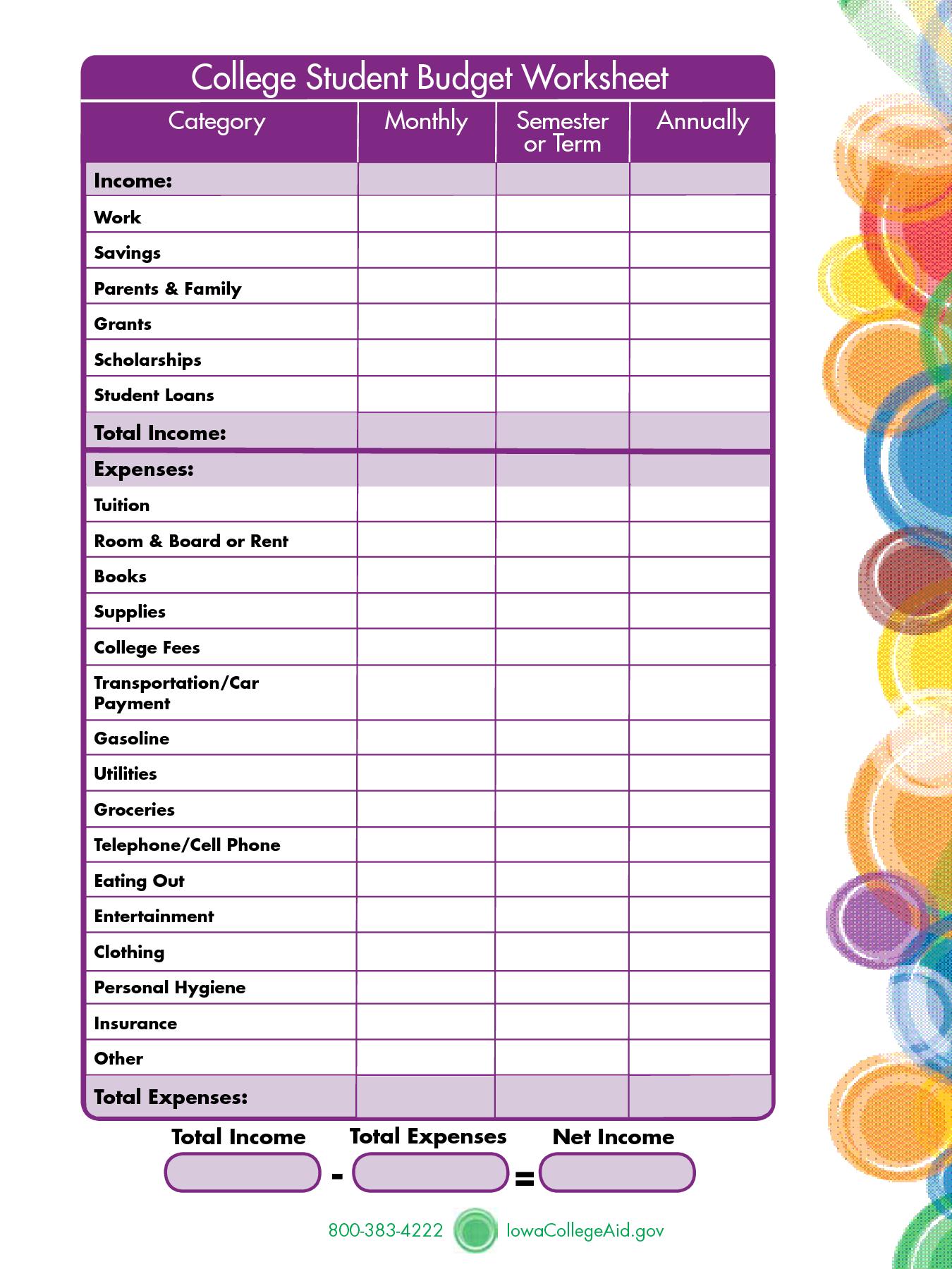 Student Budget Worksheet Printable