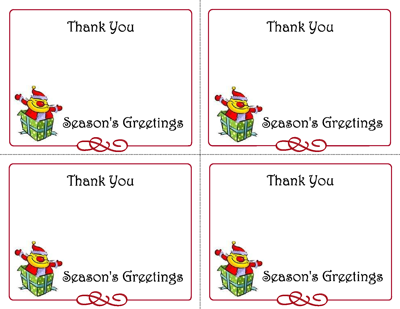 Printable Christmas Thank You Card Templates