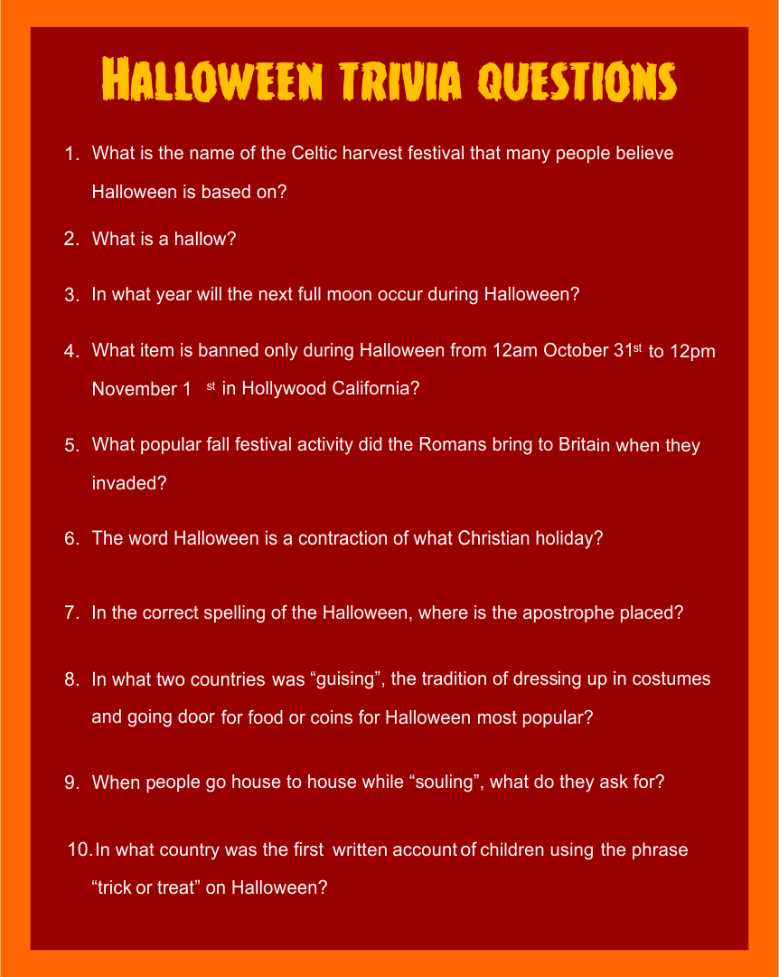 Printable Halloween Trivia For Adults