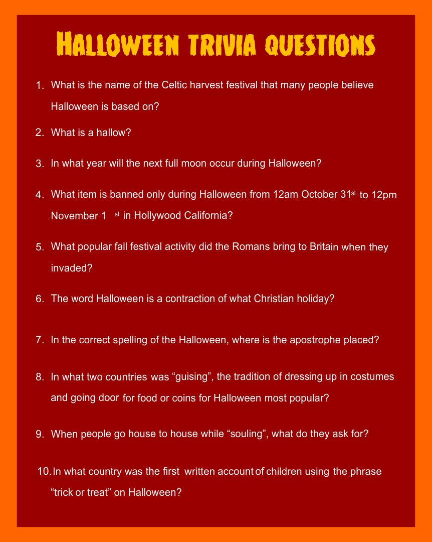 Printable Halloween Trivia For Adults