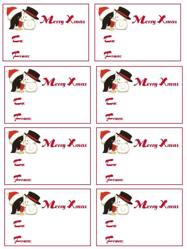 Christmas Gift Name Tags Printables