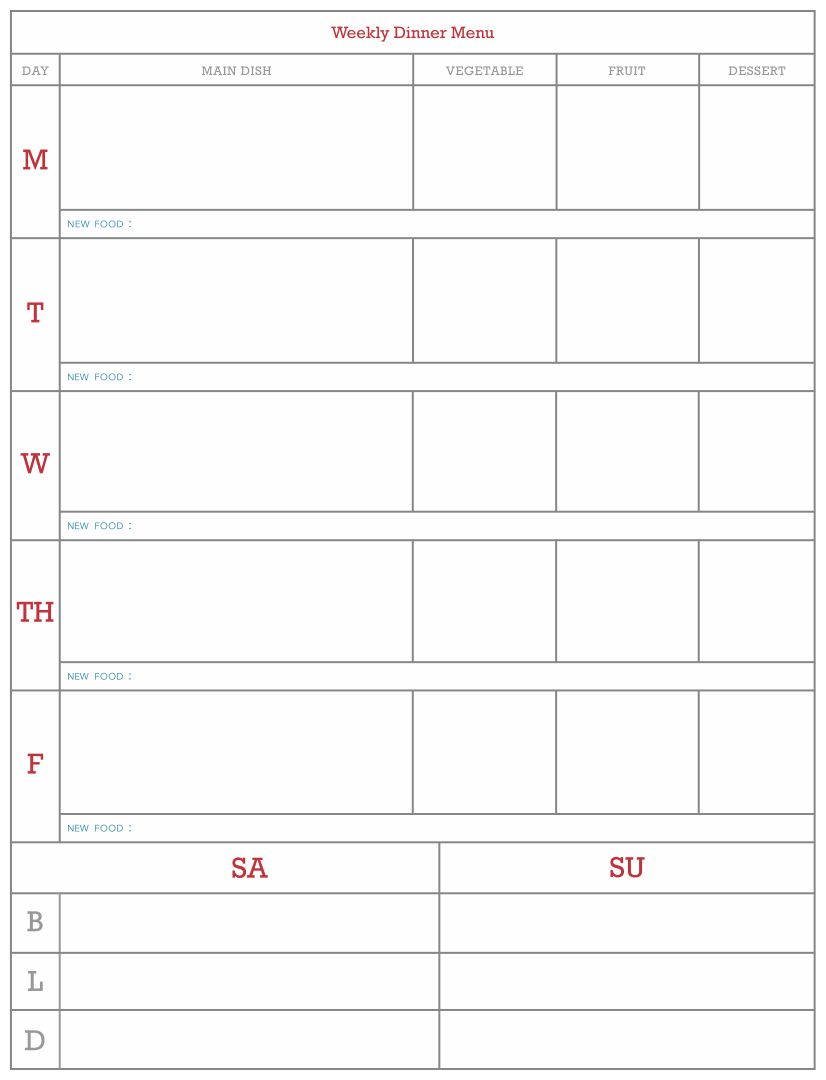 Blank Weekly Menu Templates Printables