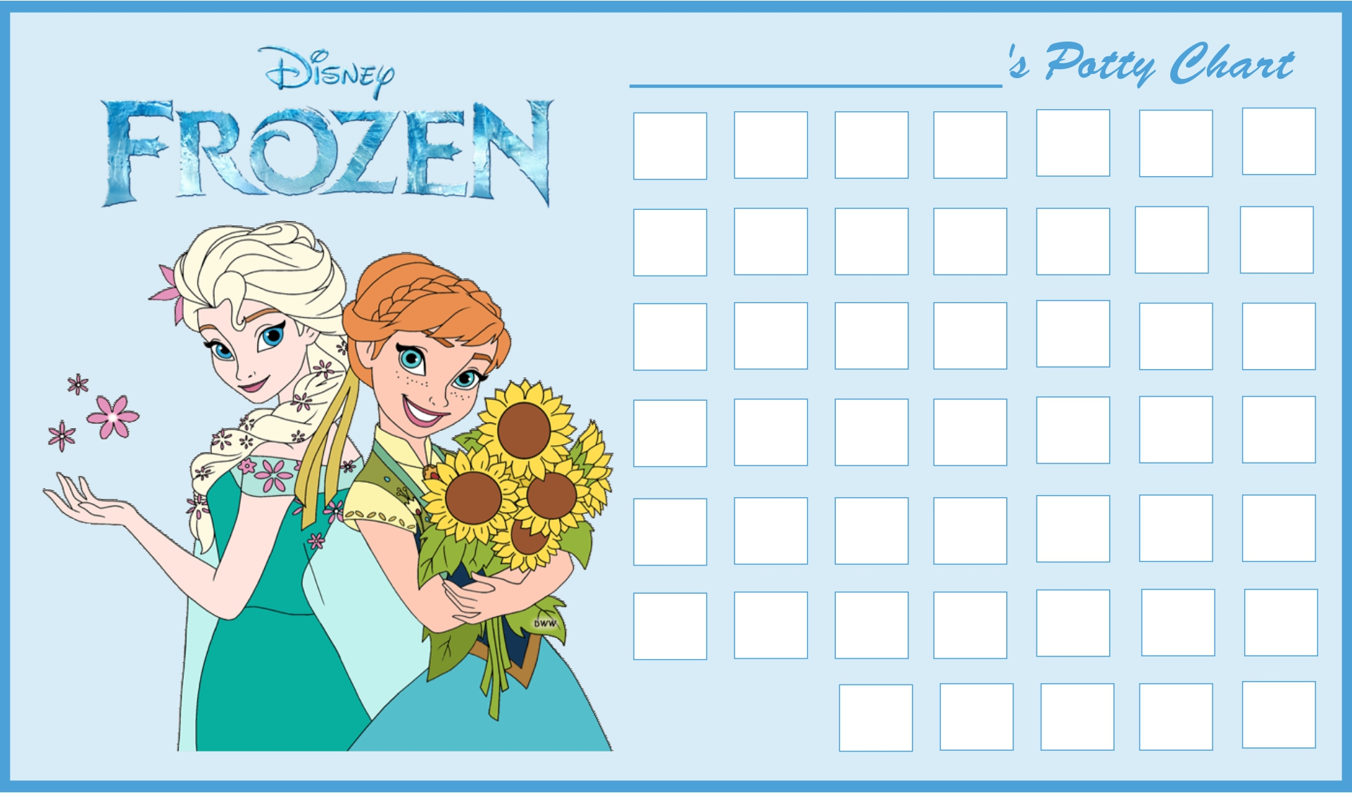 Frozen  Printable Potty Charts