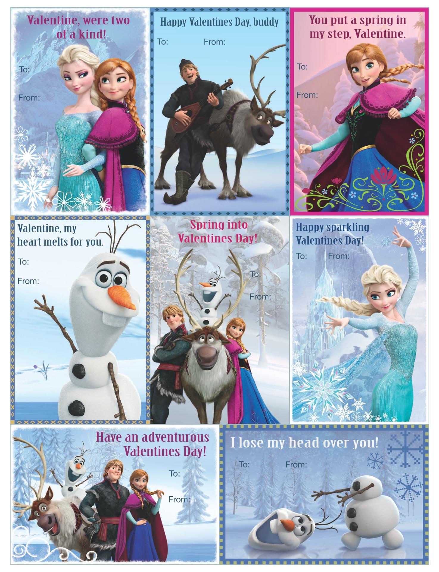 Printable Frozen Valentine Cards