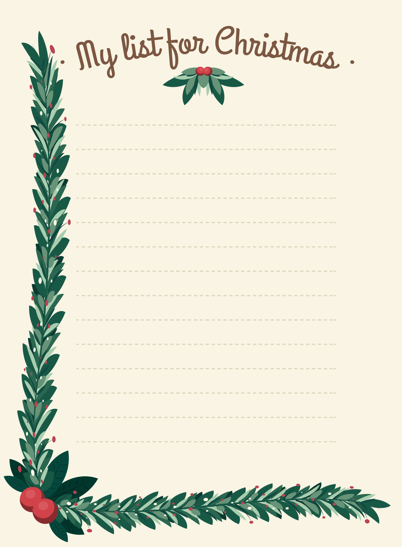 Printable Christmas Lined Paper With Borders