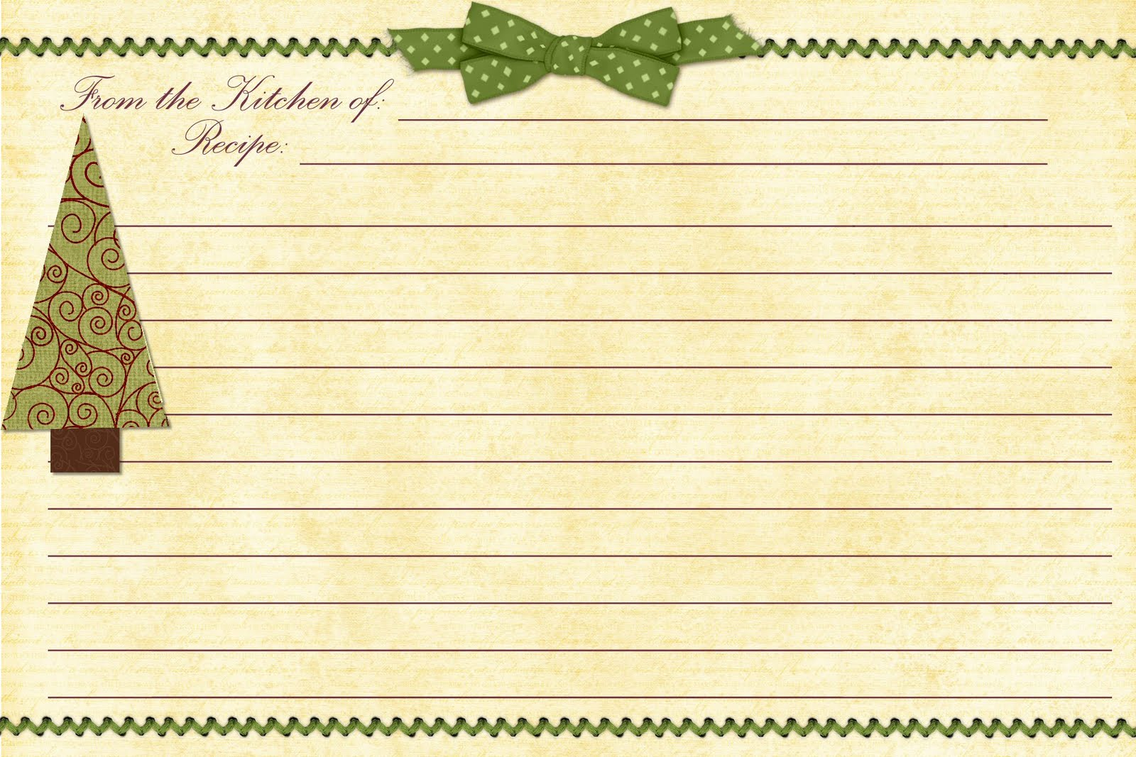 Christmas  Printable Recipe Templates