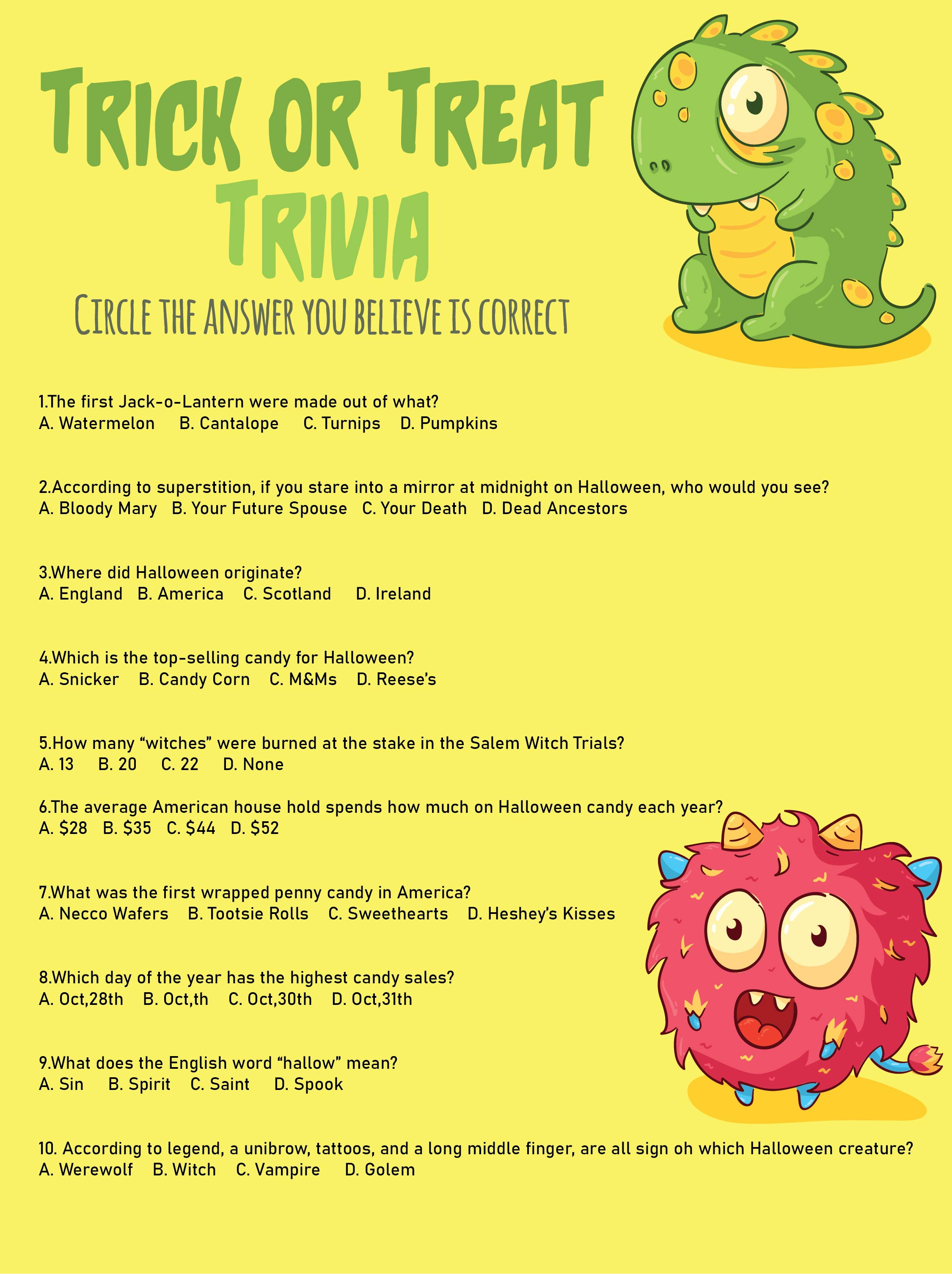 Printable Halloween Trivia