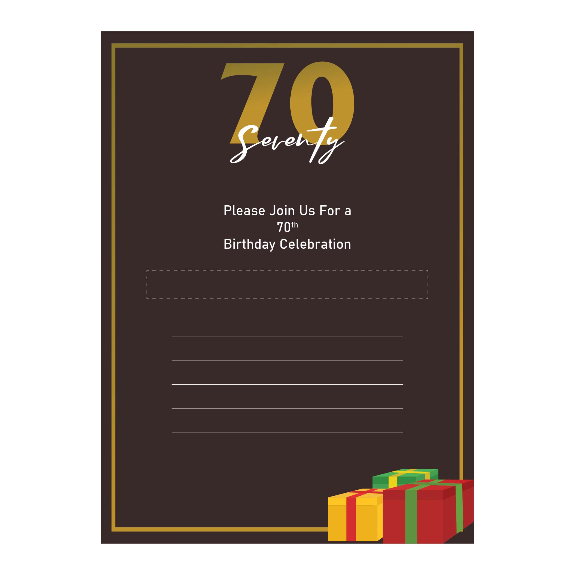 70th Birthday Invitations  Printable
