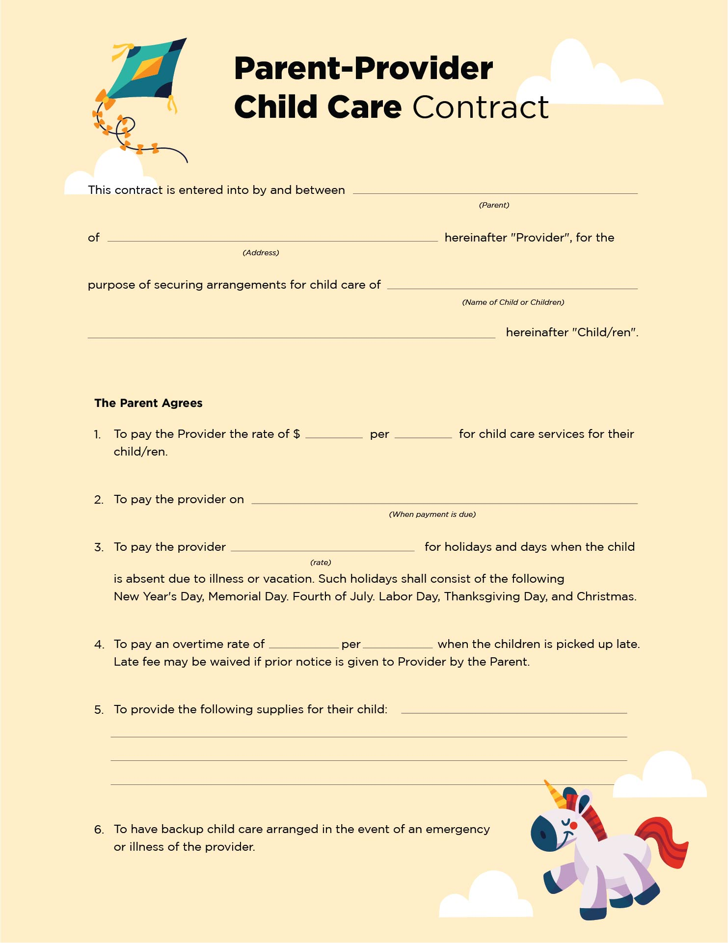 Home Day Care Forms Printable