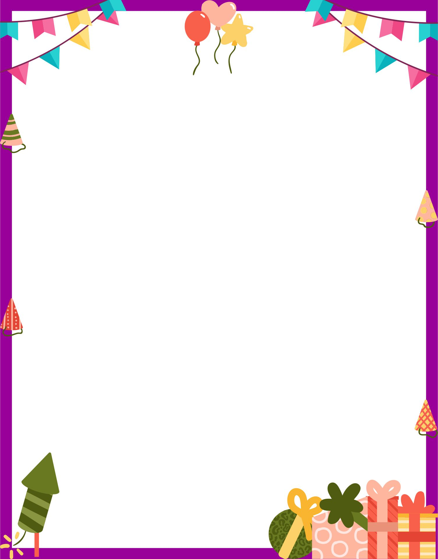 Printable Happy Birthday Borders