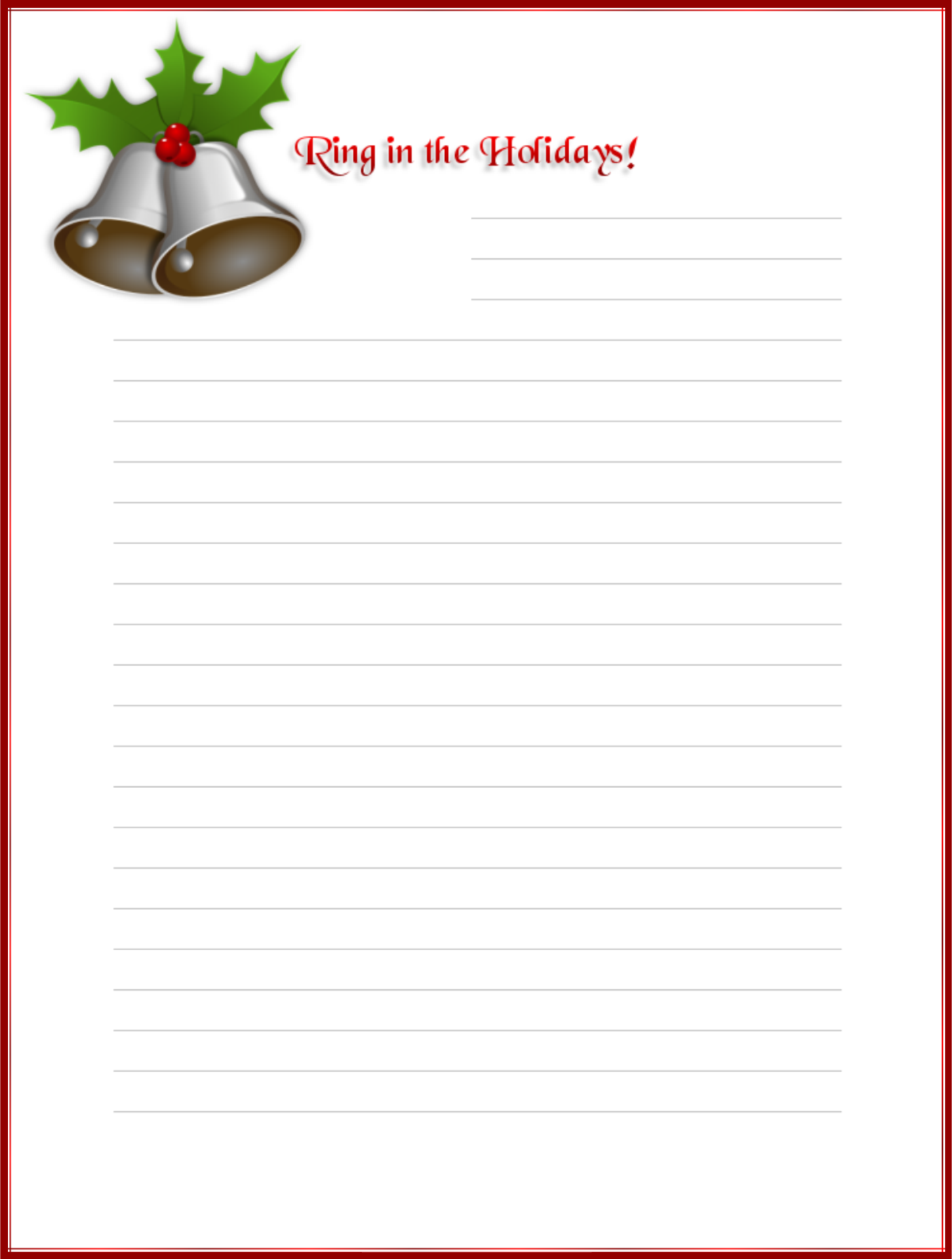 Printable Christmas Paper Letter