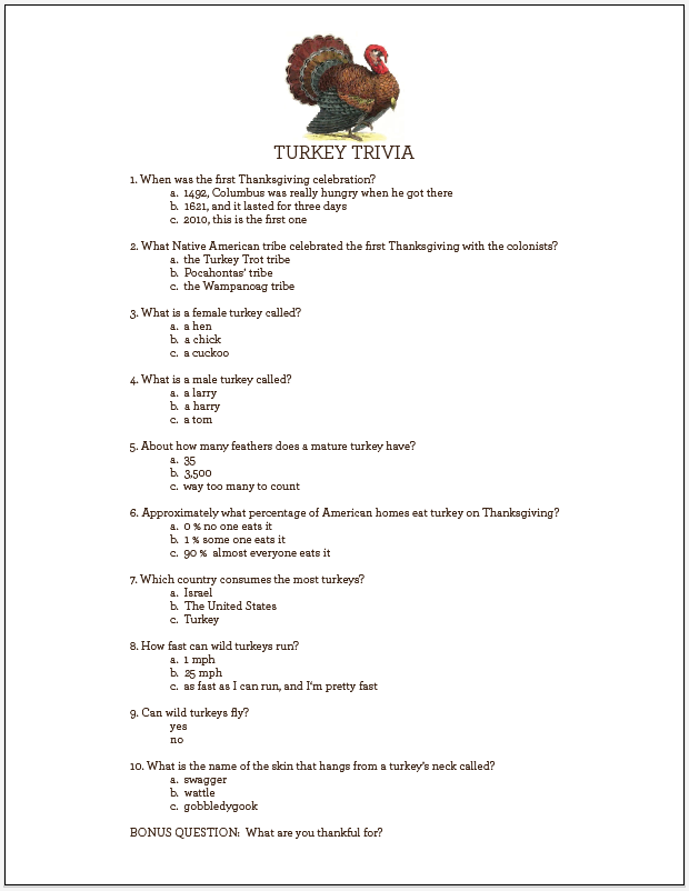 Printable Kids Trivia Questions And Answers