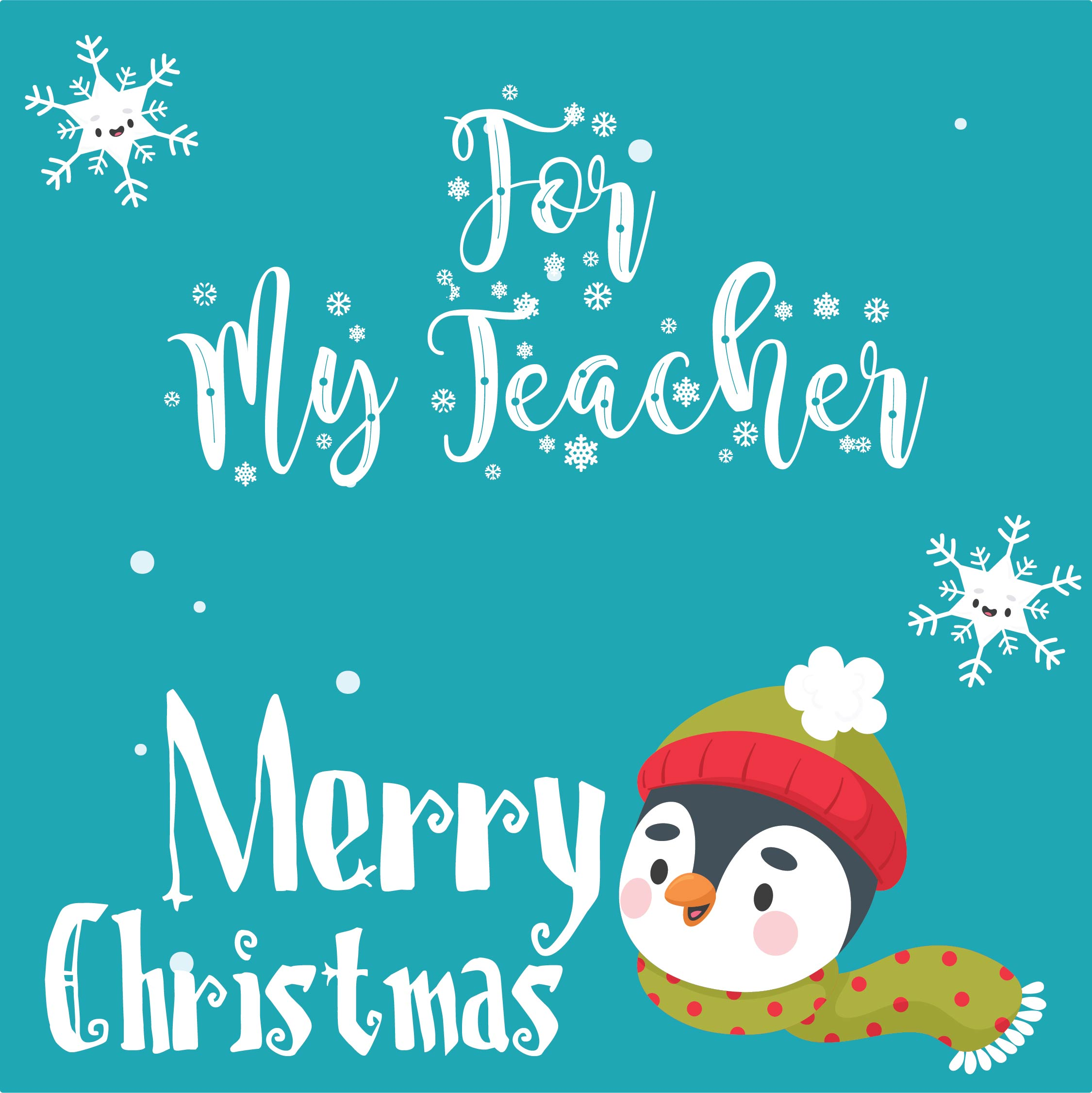 Printable Teacher Christmas Cards