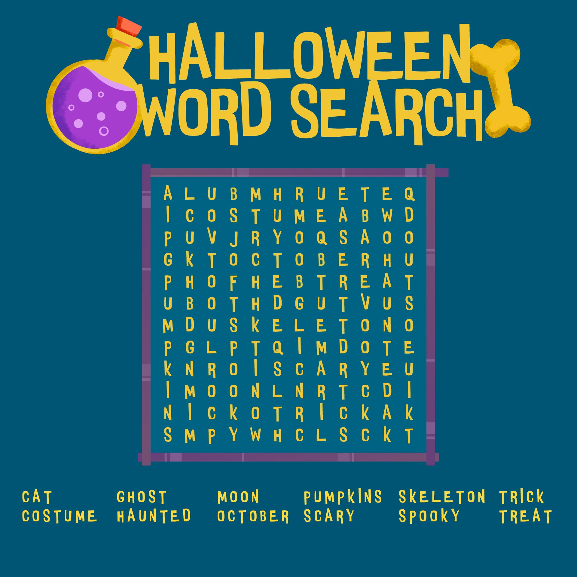 Kids Halloween Word Searches Printable