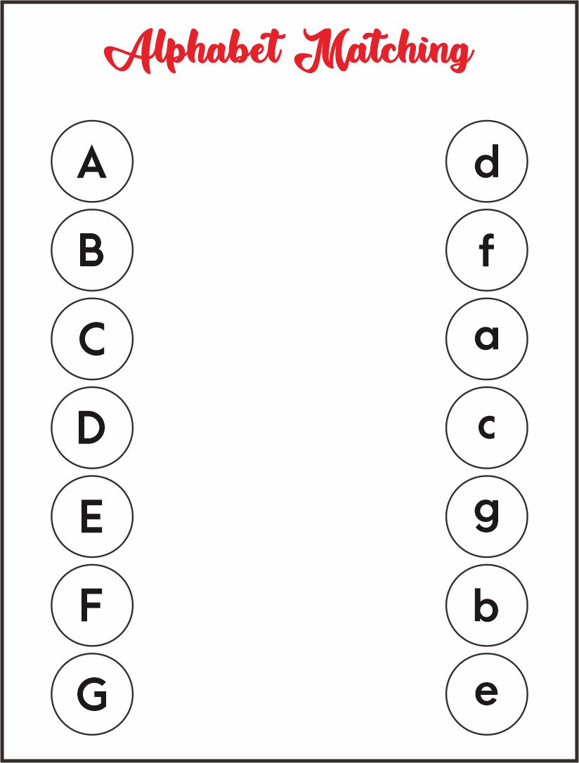 Alphabet Matching Printable Worksheets